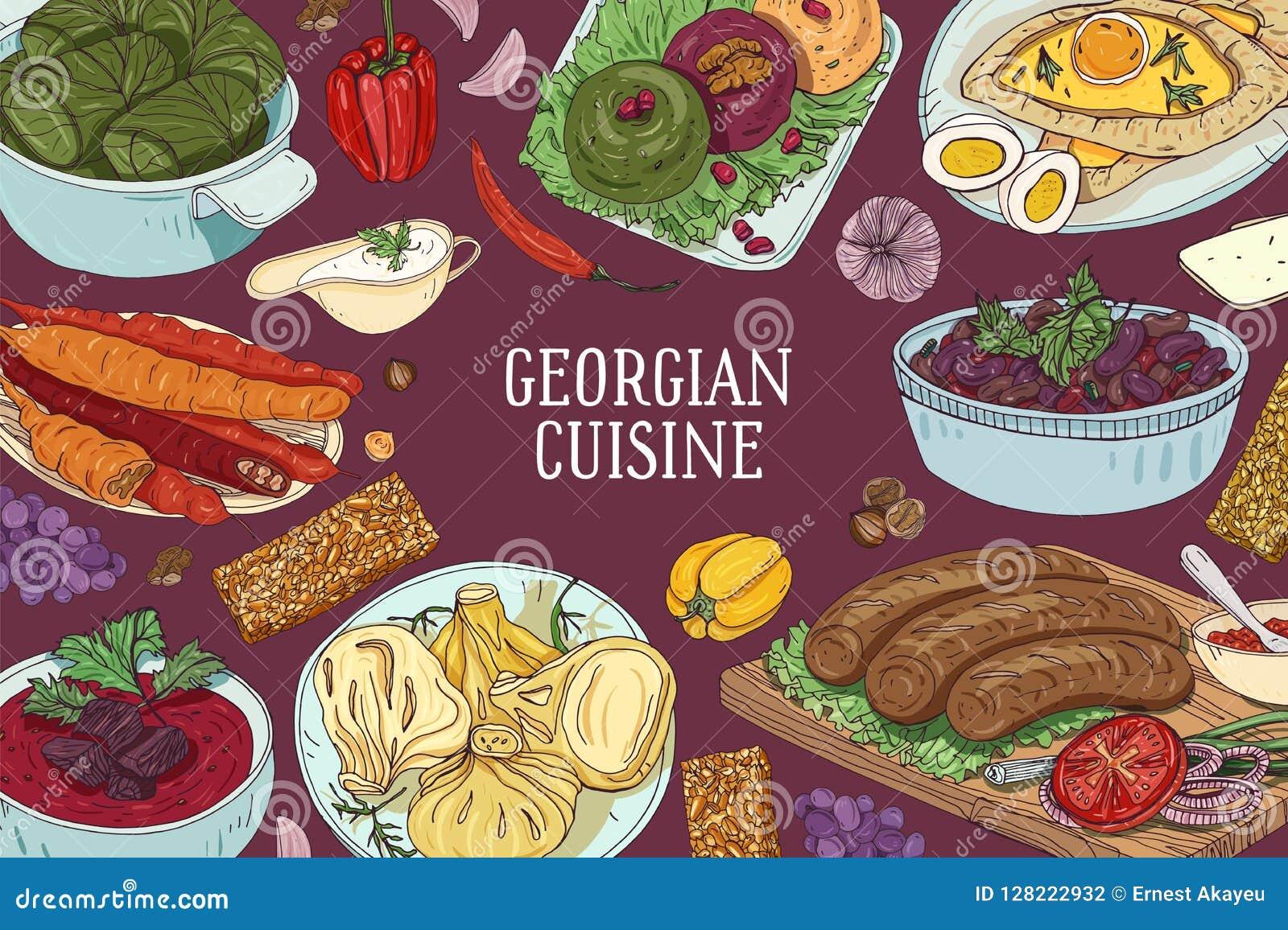 Kulör horisontalbakgrund med läckra traditionella mål av georgisk kokkonst och stället för text tecknad hand
