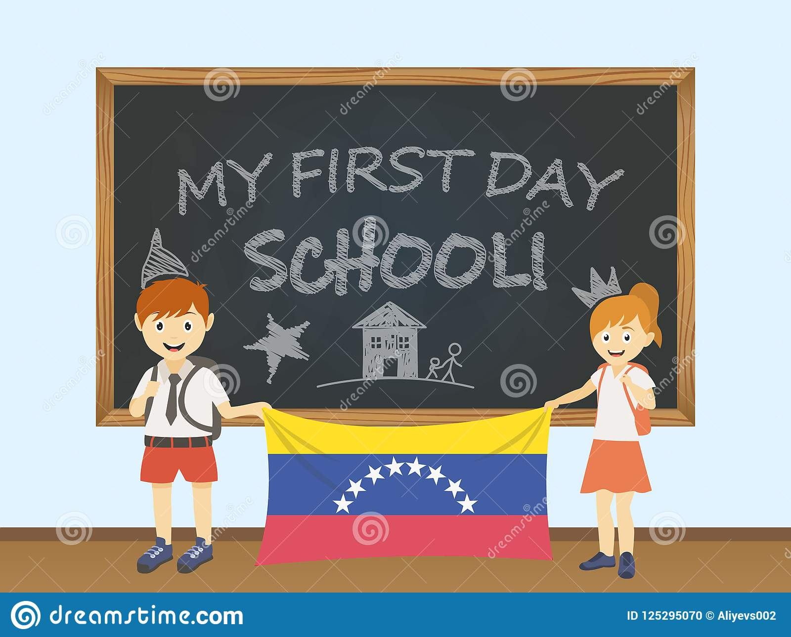 Kulöra le barn, pojke och flicka som rymmer en nationell Venezuela flagga bak en skolförvaltningillustration Vektortecknad filmil