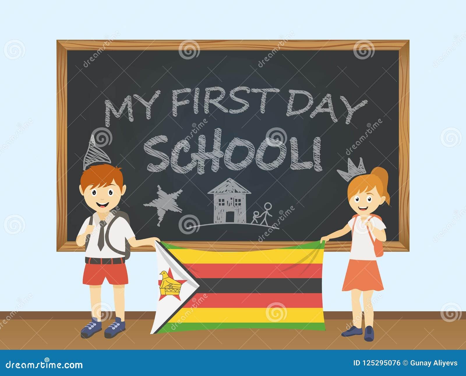 Kulöra le barn, pojke och flicka som rymmer en nationell Zimbabwe flagga bak en skolförvaltningillustration Vektortecknad filmill