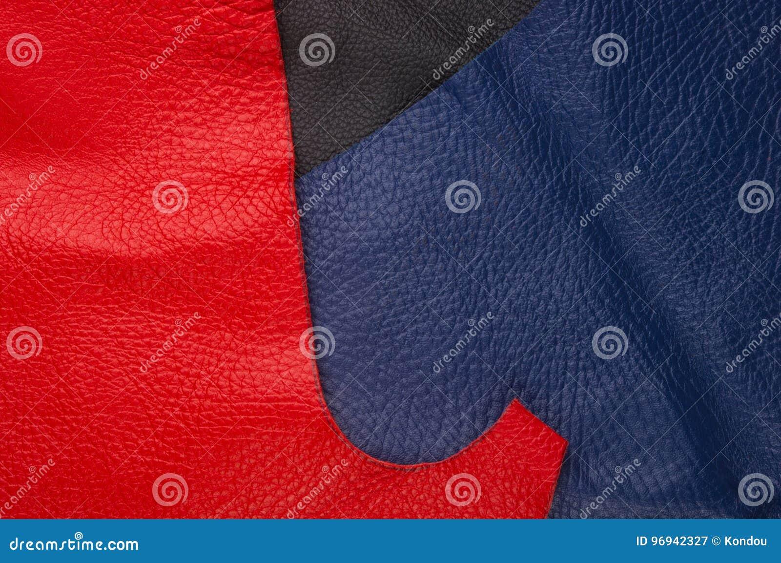 Kulöra stycken och rester av naturligt läder