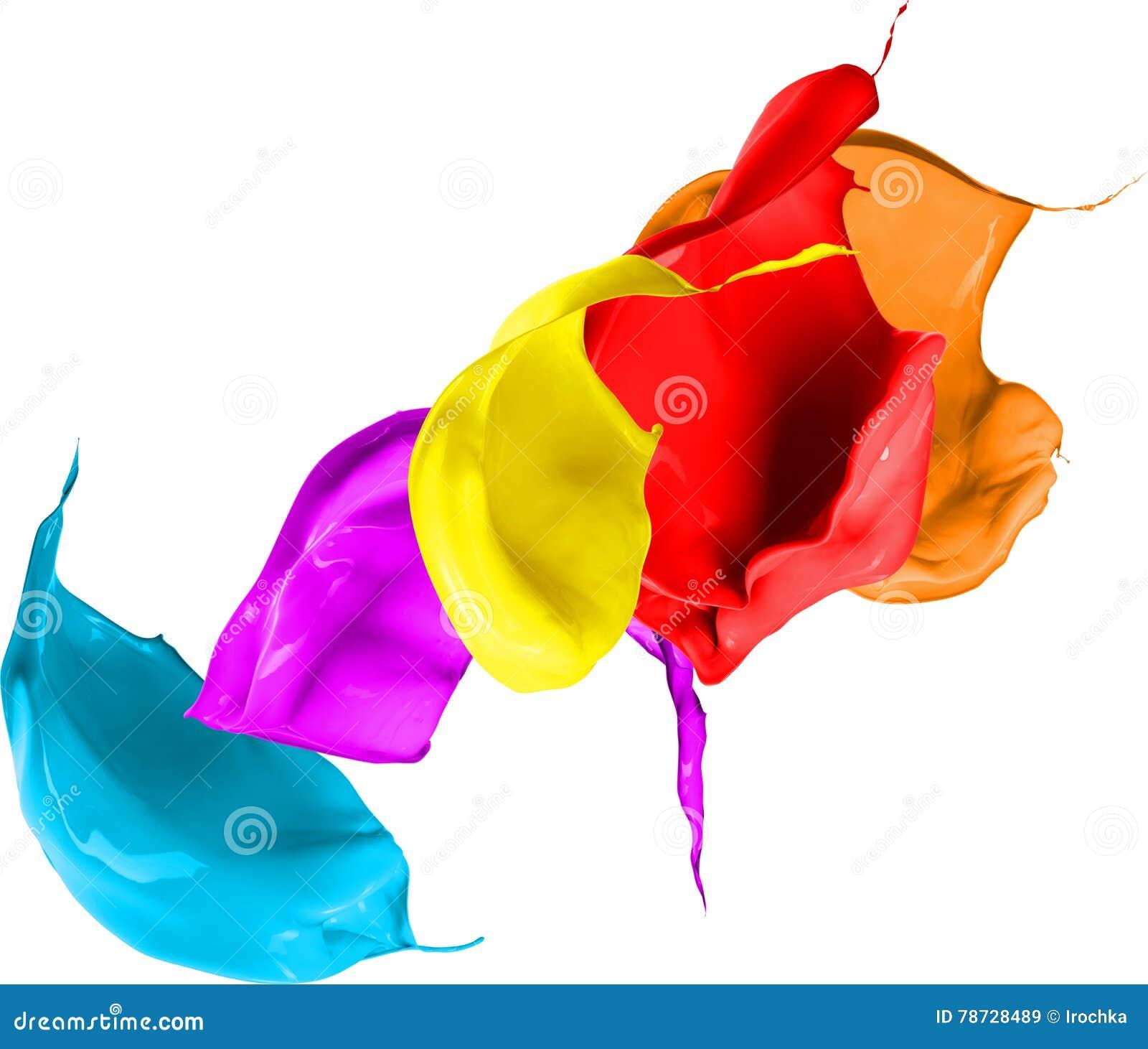 Kulört måla färgstänk som isoleras på vitbakgrund