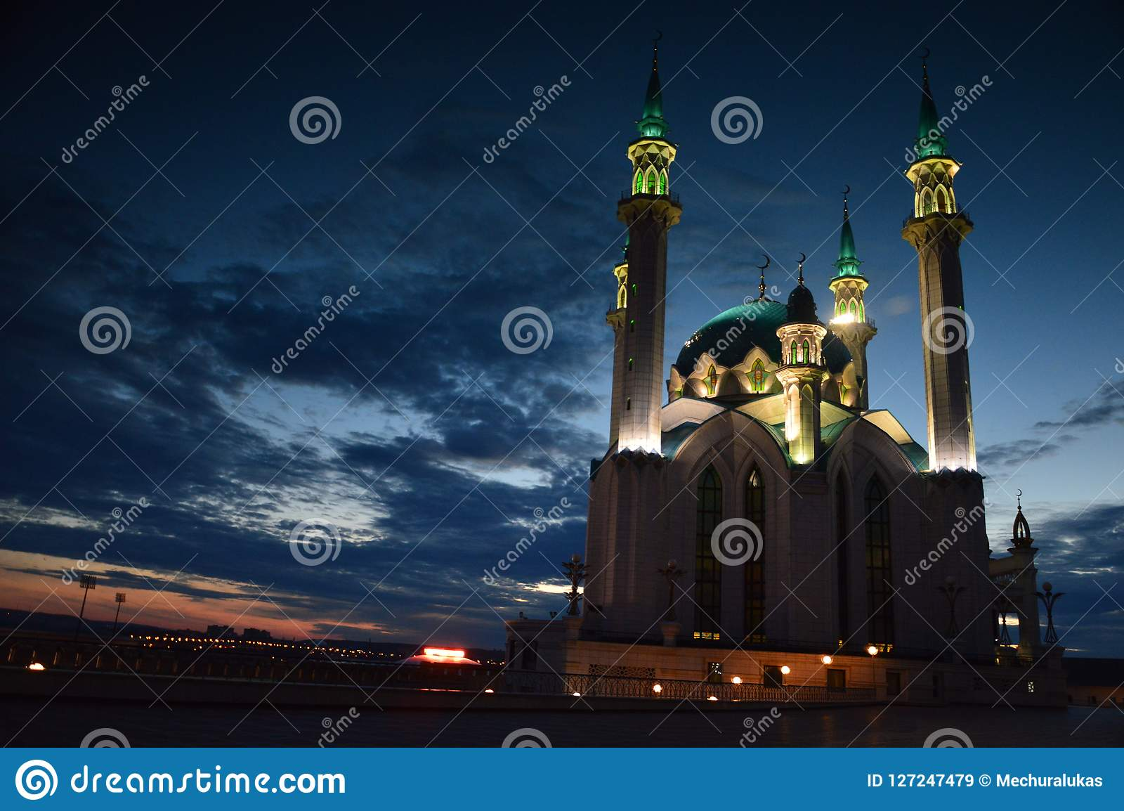 Kul Sharif Mosque på skymning, Kazan Kreml, Kazan, Tatarstan, Ryssland
