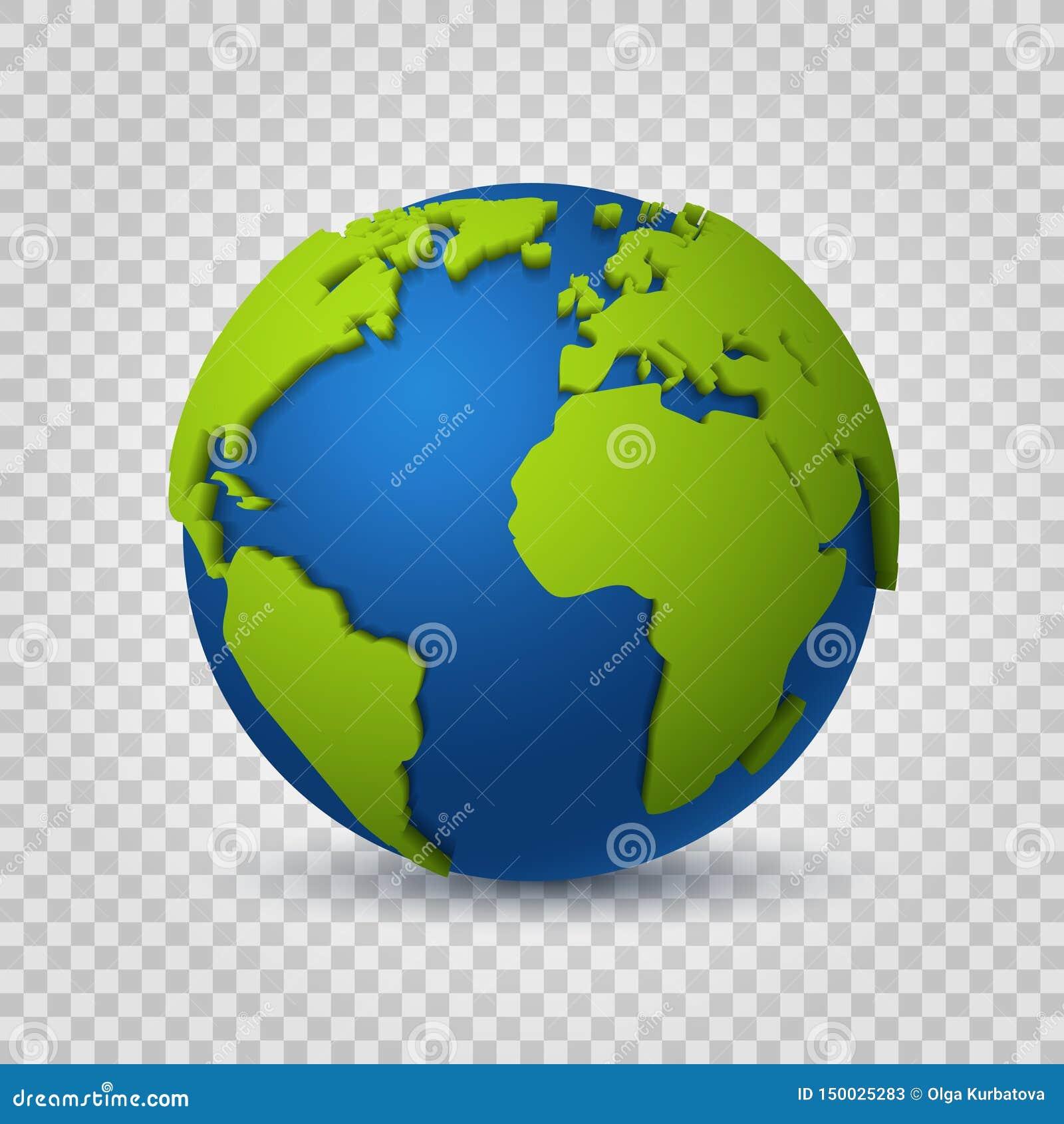 Kula ziemska 3d Ziemska światowa mapa zieleni przestrzeni planeta Globalny cyfrowej komunikacji realistyczny wektorowy nowożytny