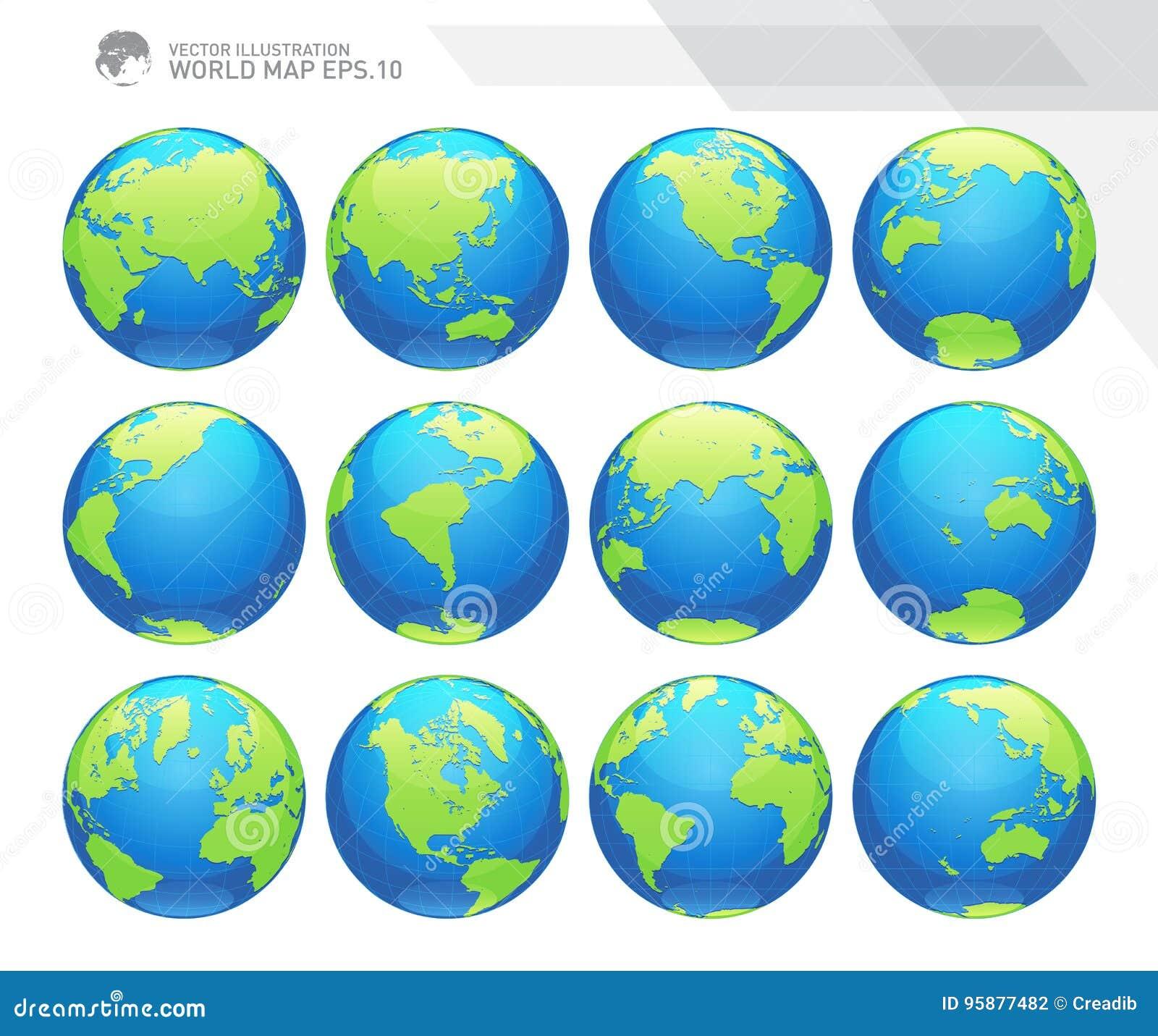 Kule ziemskie pokazuje ziemię z wszystkie kontynentami Cyfrowej kuli ziemskiej światowy wektor Kropkowany światowej mapy wektor