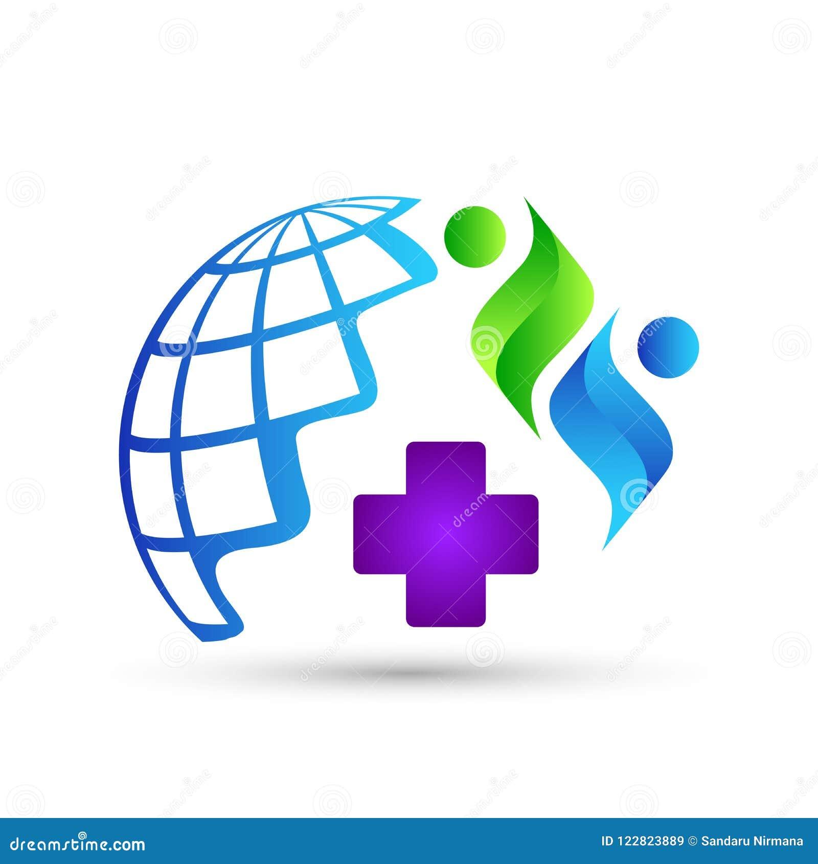 Kuli ziemskiej opieki medycznej loga ikony na białym tle ludzie