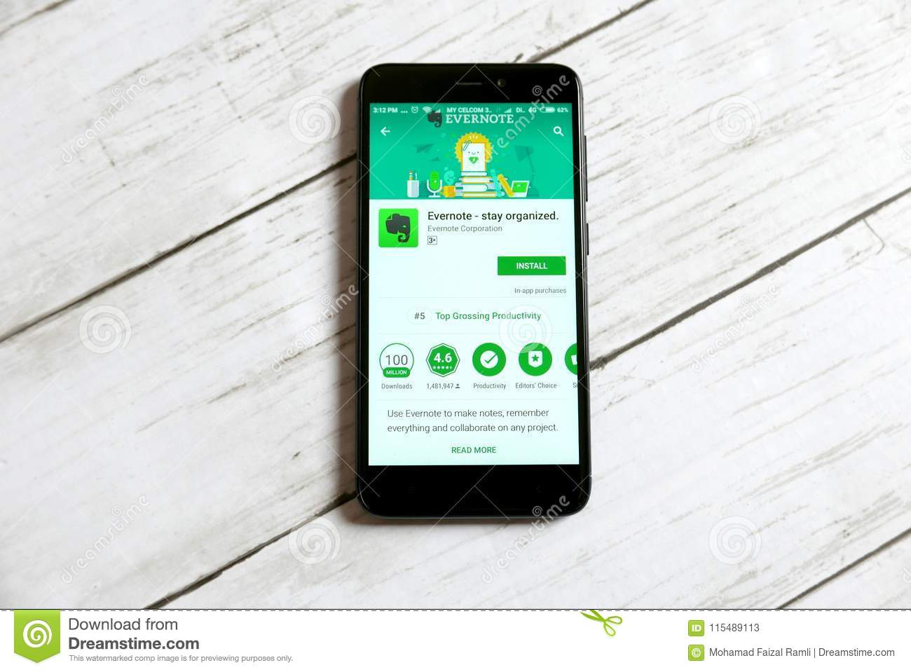 KULIM,MALAYSIA - APRIL 11TH,2018 : Evernote Application On An