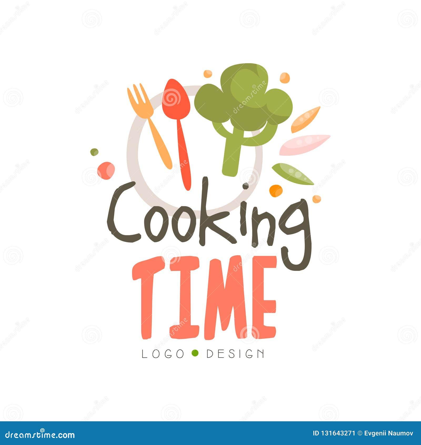Kulinarnego czasu logo projekt, ręka rysująca odznaka może używać dla kulinarnej klasy, kurs, szkolna wektorowa ilustracja na bie