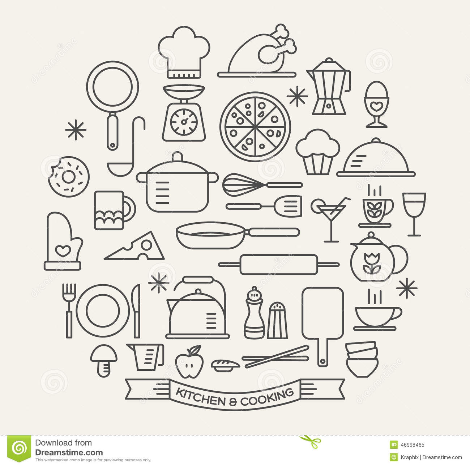 Kulinarni Foods i Kuchenne ikony ustawiający