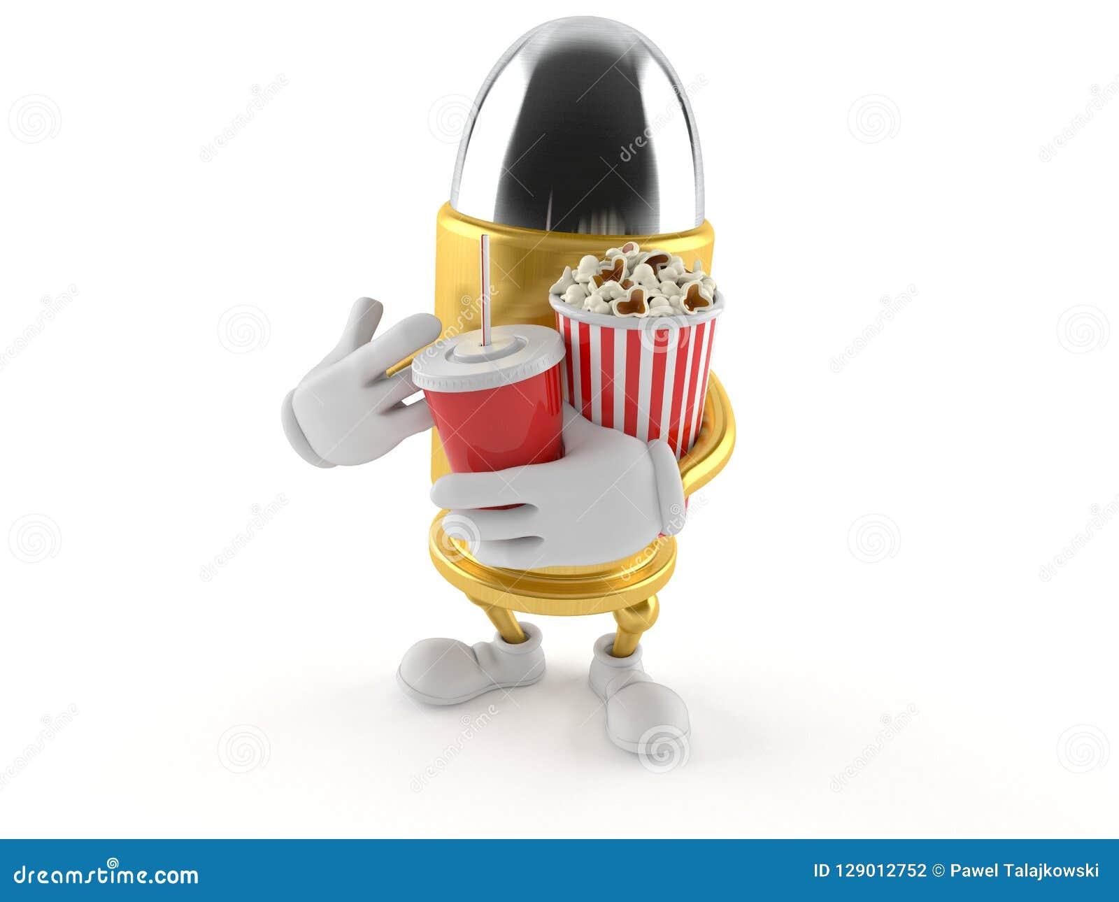 Kultecken med popcorn och sodavatten