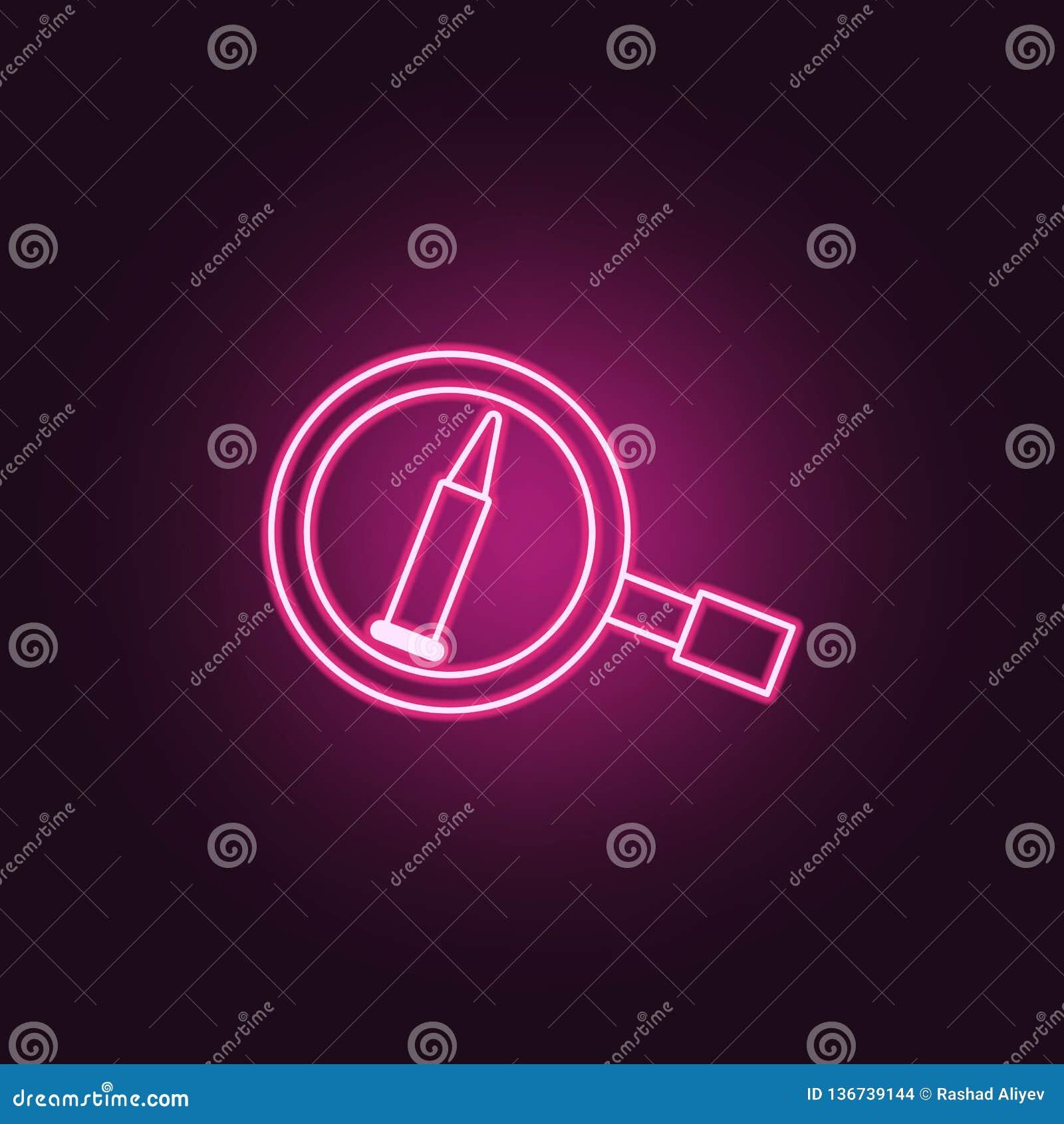 Kulteckensymbol Beståndsdelar av brotts- utredning i neonstilsymboler Enkel symbol för websites, rengöringsdukdesign, mobil app,