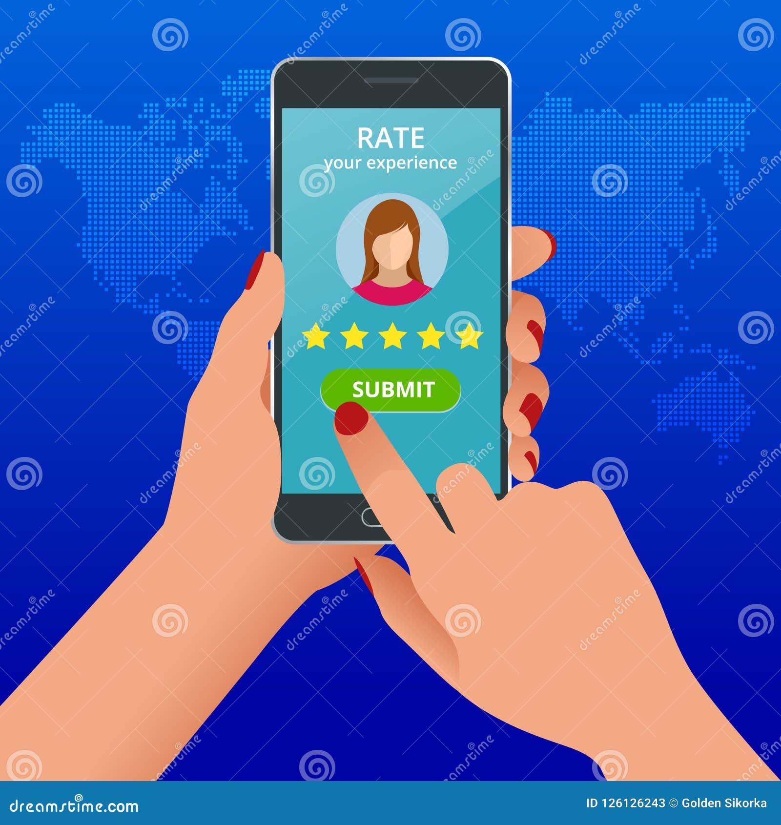 Kundenrezensionen Wiederholen Sie Bewertung am Handy, Feedbackvektorillustration Lesekundenrezension im intelligenten Telefon