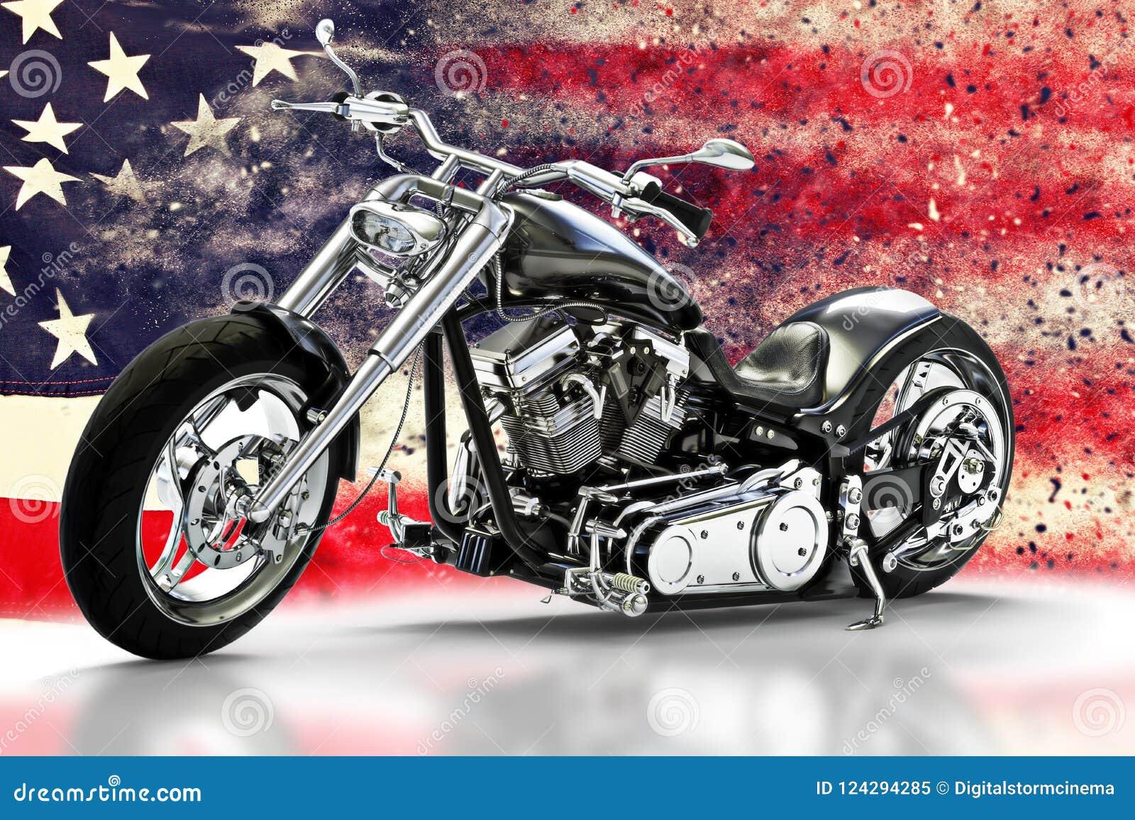 Kundenspezifisches schwarzes Motorrad mit Hintergrund der amerikanischen Flagge mit Streuungseffekten Gemacht in Amerika-Konzept