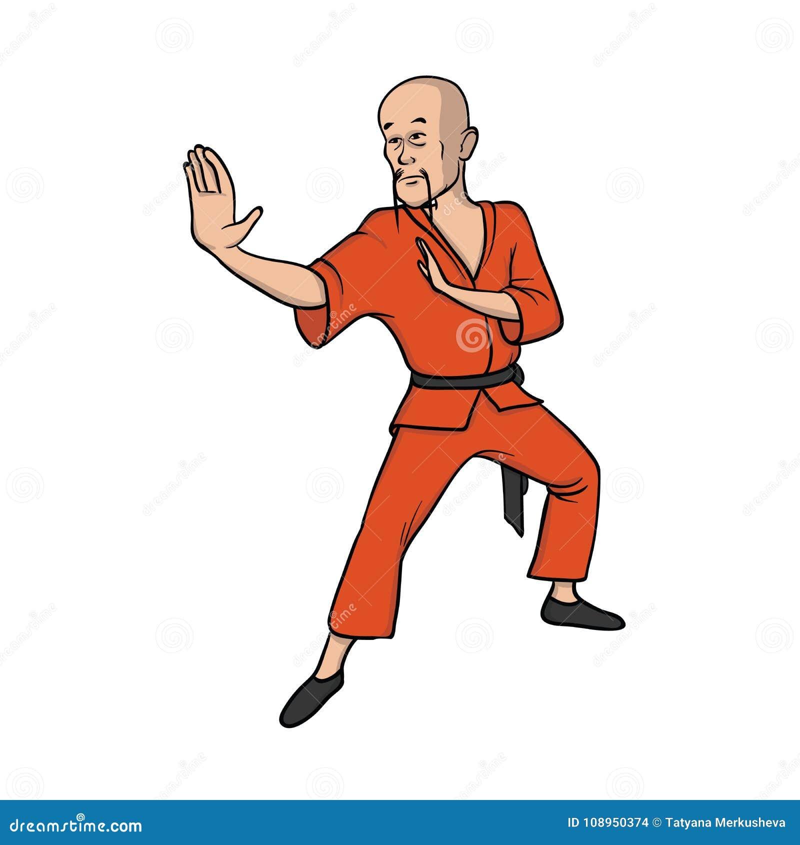 Kung Fu Praticando Da Monge De Shaolin Silueta Marcial Das Meninas