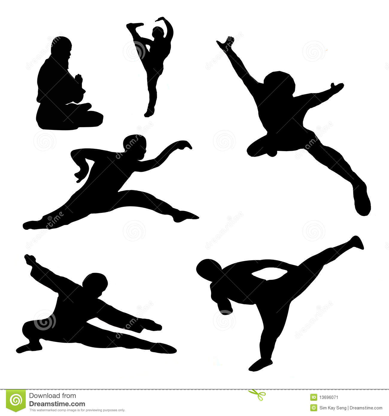 Chinese kungfu fighters in silhouette.