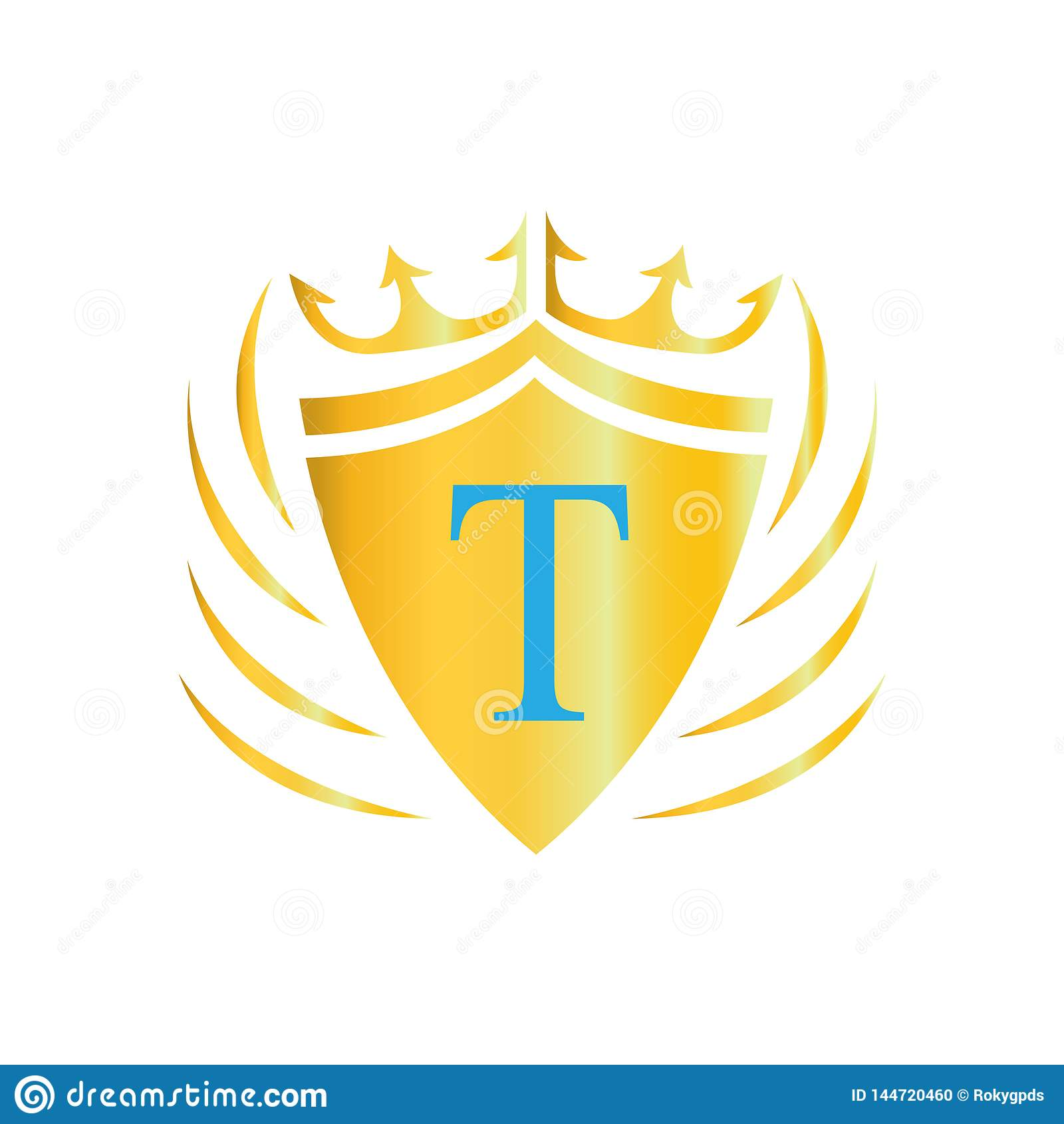 Kunglig kronalogo bokstavslogo t Vektorsymbol av logoen