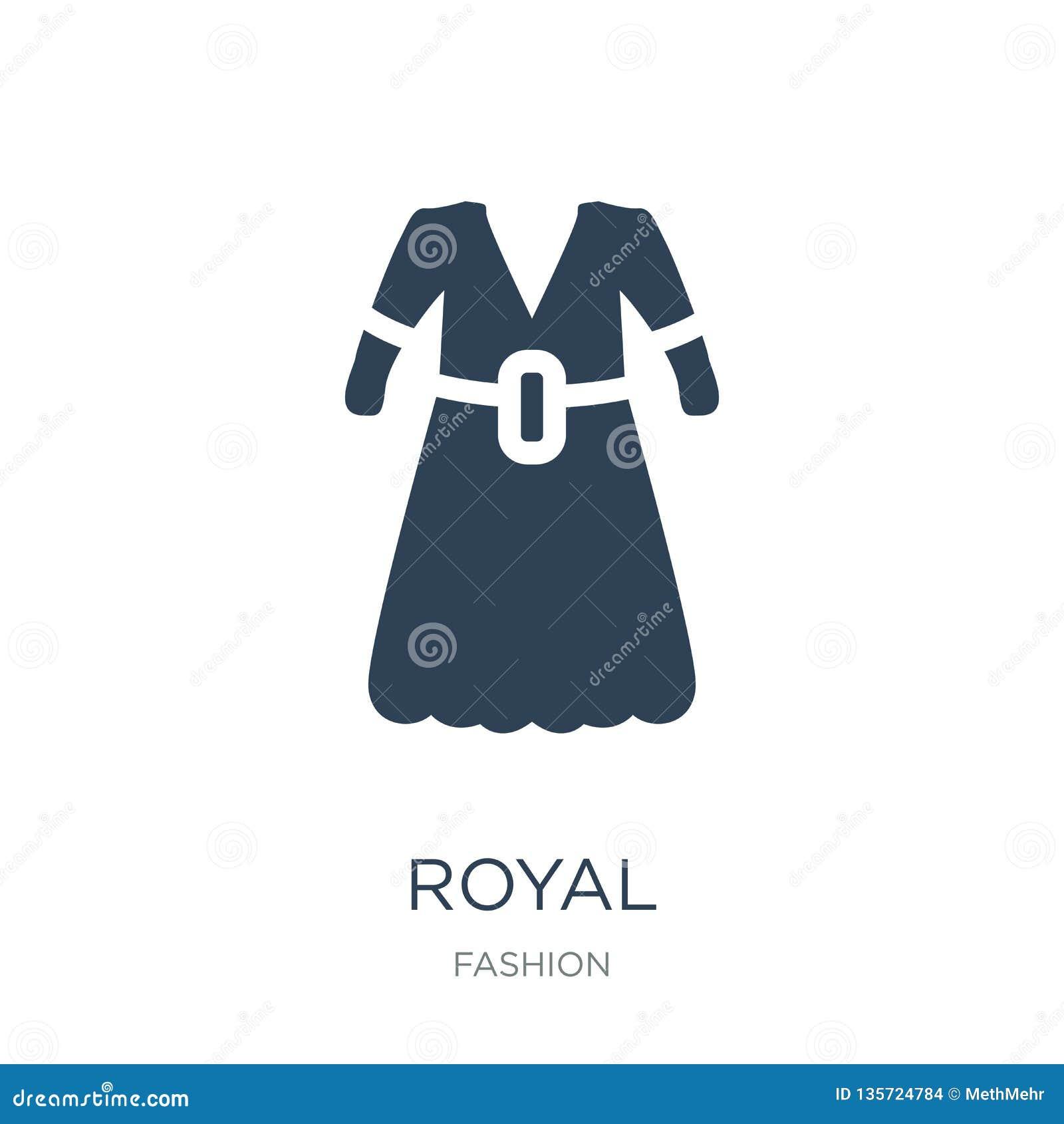 Kunglig symbol i moderiktig designstil kunglig symbol som isoleras på vit bakgrund enkelt och modernt plant symbol för kunglig ve