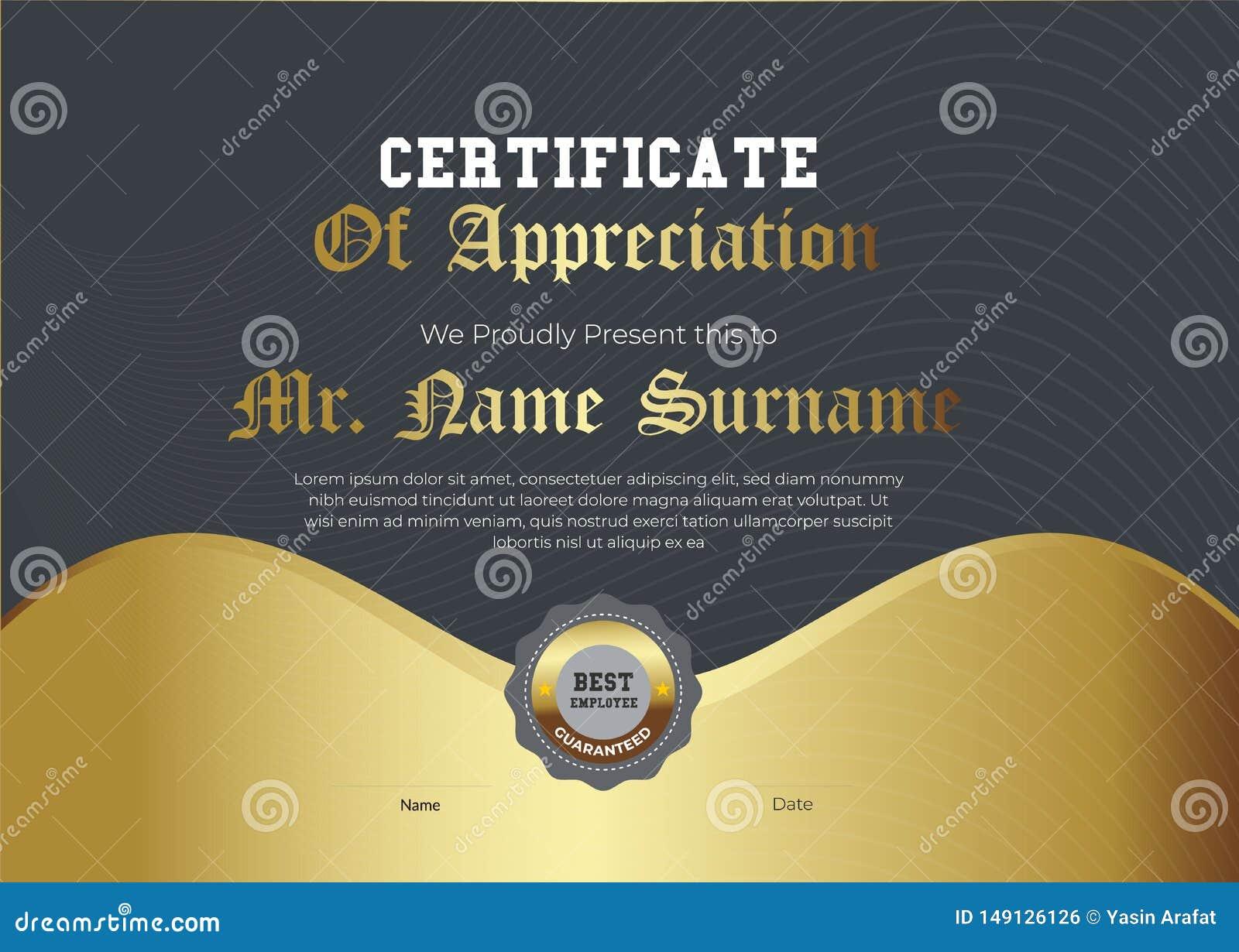 Kungligt guld- certifikat av gillandemallen Moderiktig geometrisk design I lager vektor eps10 - Mappen f?r vektorn