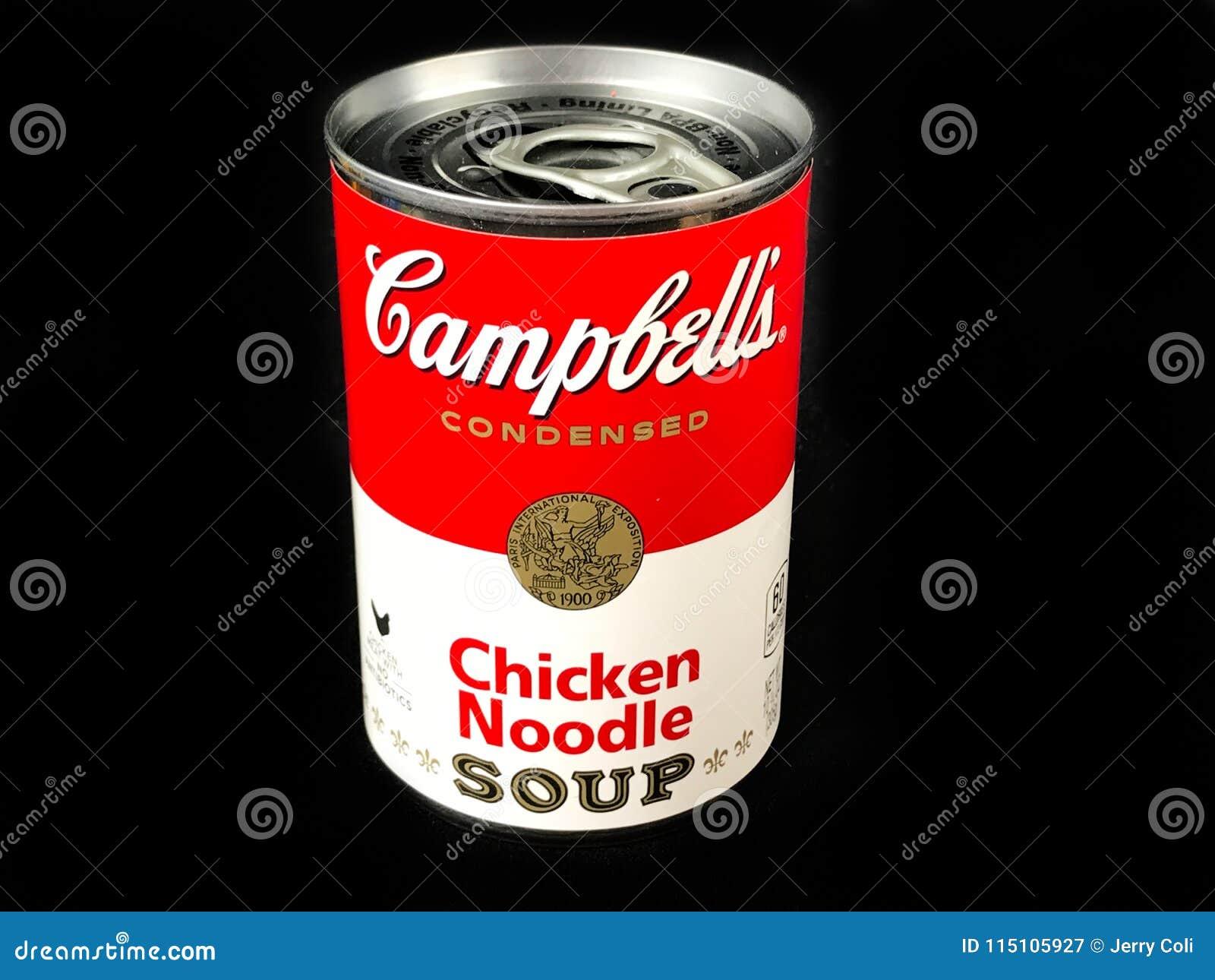 Kunna av soppa för nudeln för höna för Campbell ` s