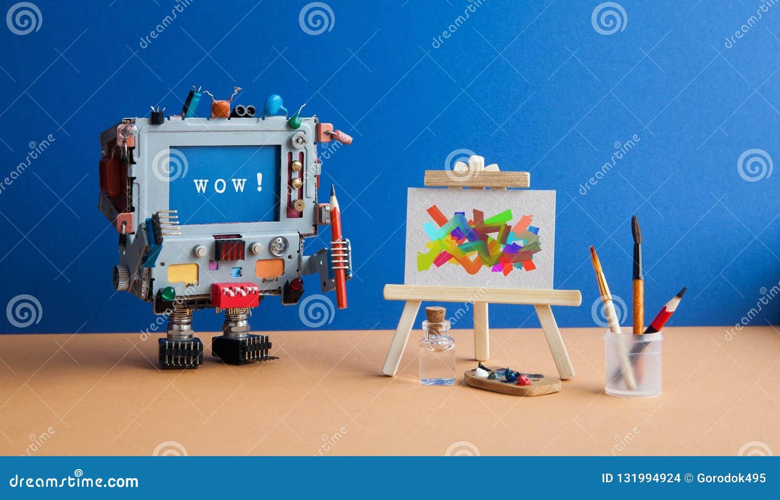 Kunst en kunstmatige intelligentieconcept Verraste robotcomputer met potloodborstel en bericht wauw op het scherm