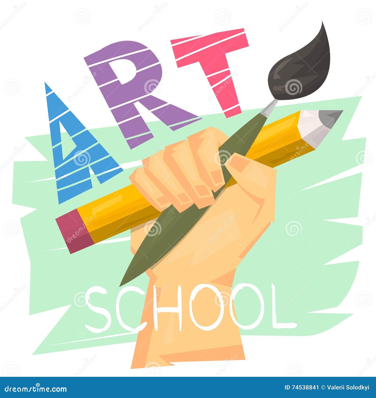Kunstacademieconcept Hand die grote potlood en borstel houden Klaar embleem of banner voor kunstles Modern art Vector illustratie