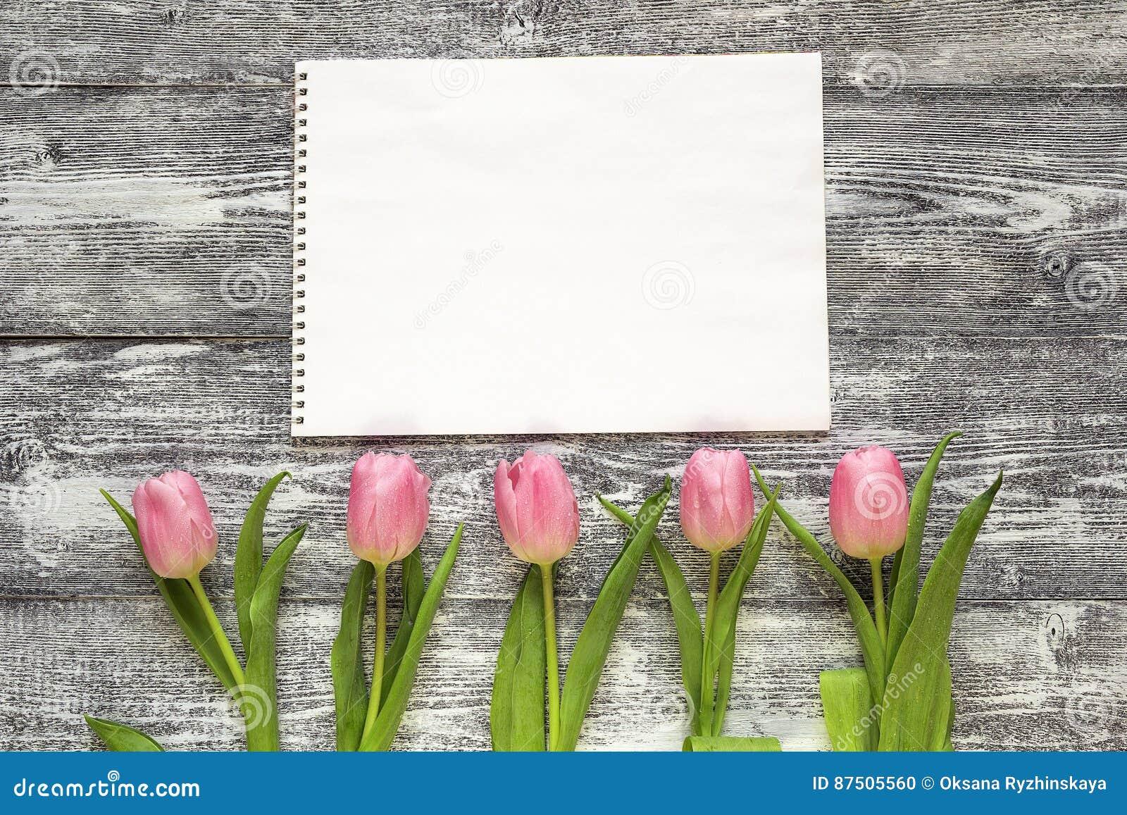 Kunstalbum en roze tulpen op grijze houten achtergrond de ruimte van het exemplaar stock foto - Grijze ruimte ...