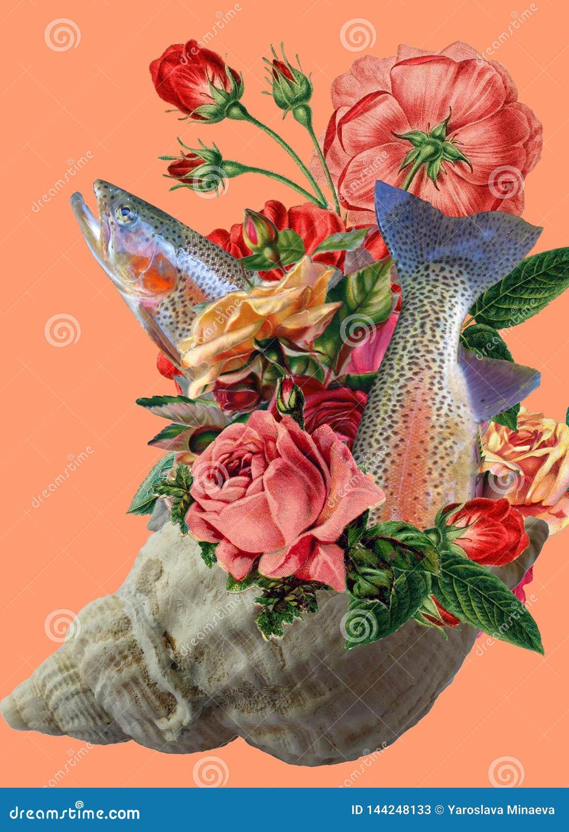 Kunstcollage, een boeket van rozen in een zeeschelp