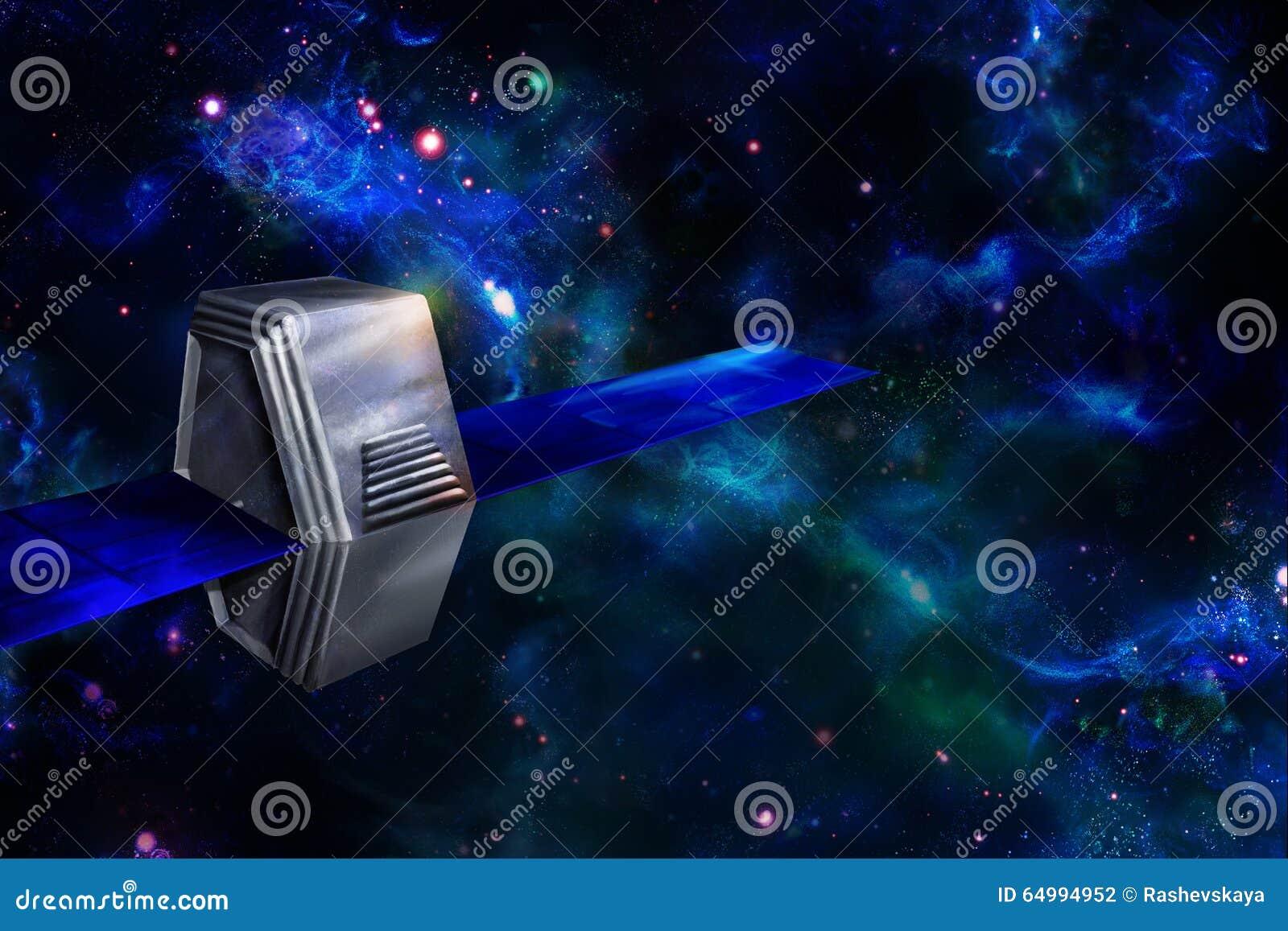 Kunstmatig satelliet of ruimtevaartuig in ruimte