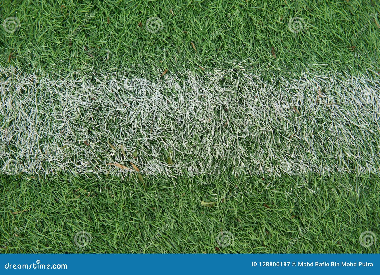 Kunstmatig spoor en gebied met groen die gras met kunstmatig gras wordt gecombineerd