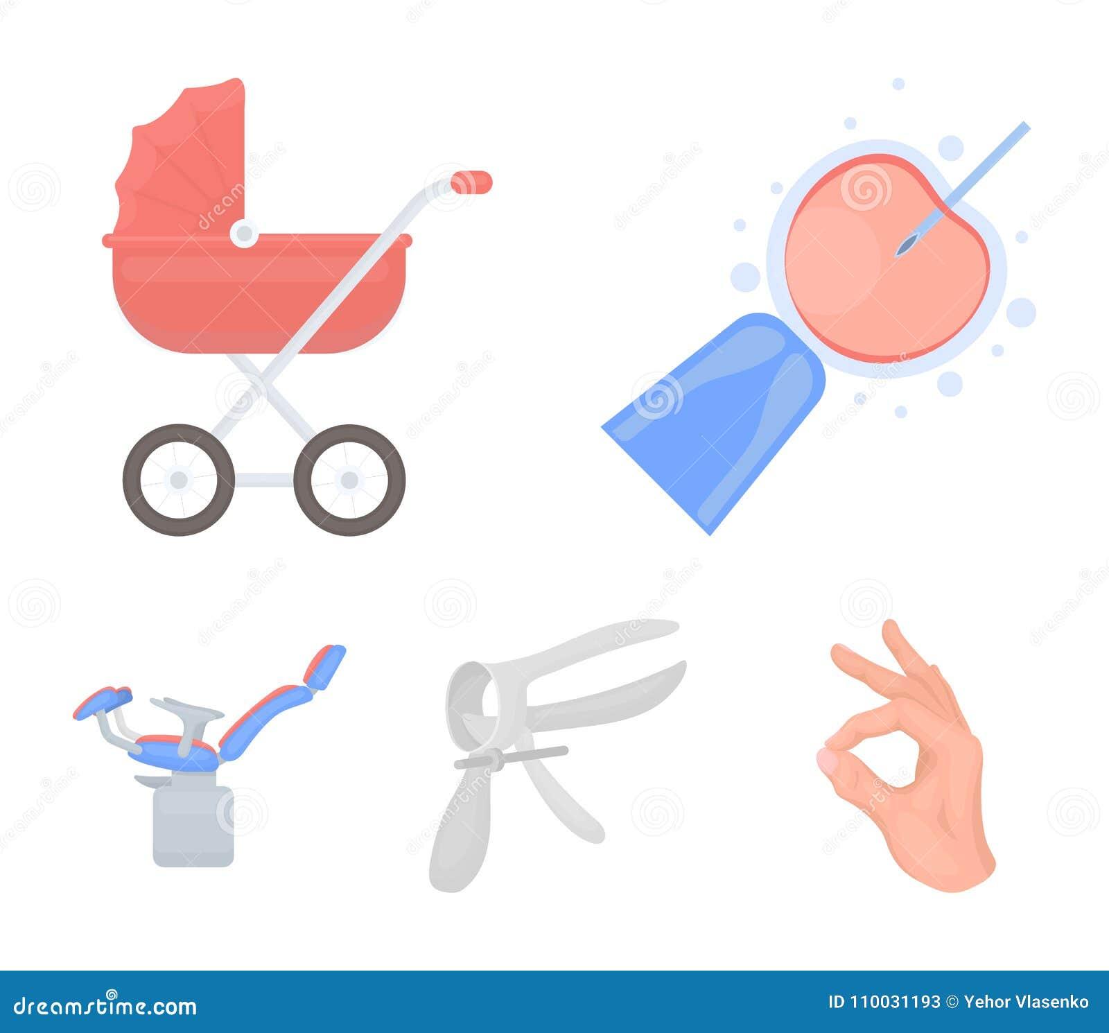 Kunstmatige inseminatie, kinderwagen, instrument, gynaecologische stoel Pictogrammen van de zwangerschaps de vastgestelde inzamel