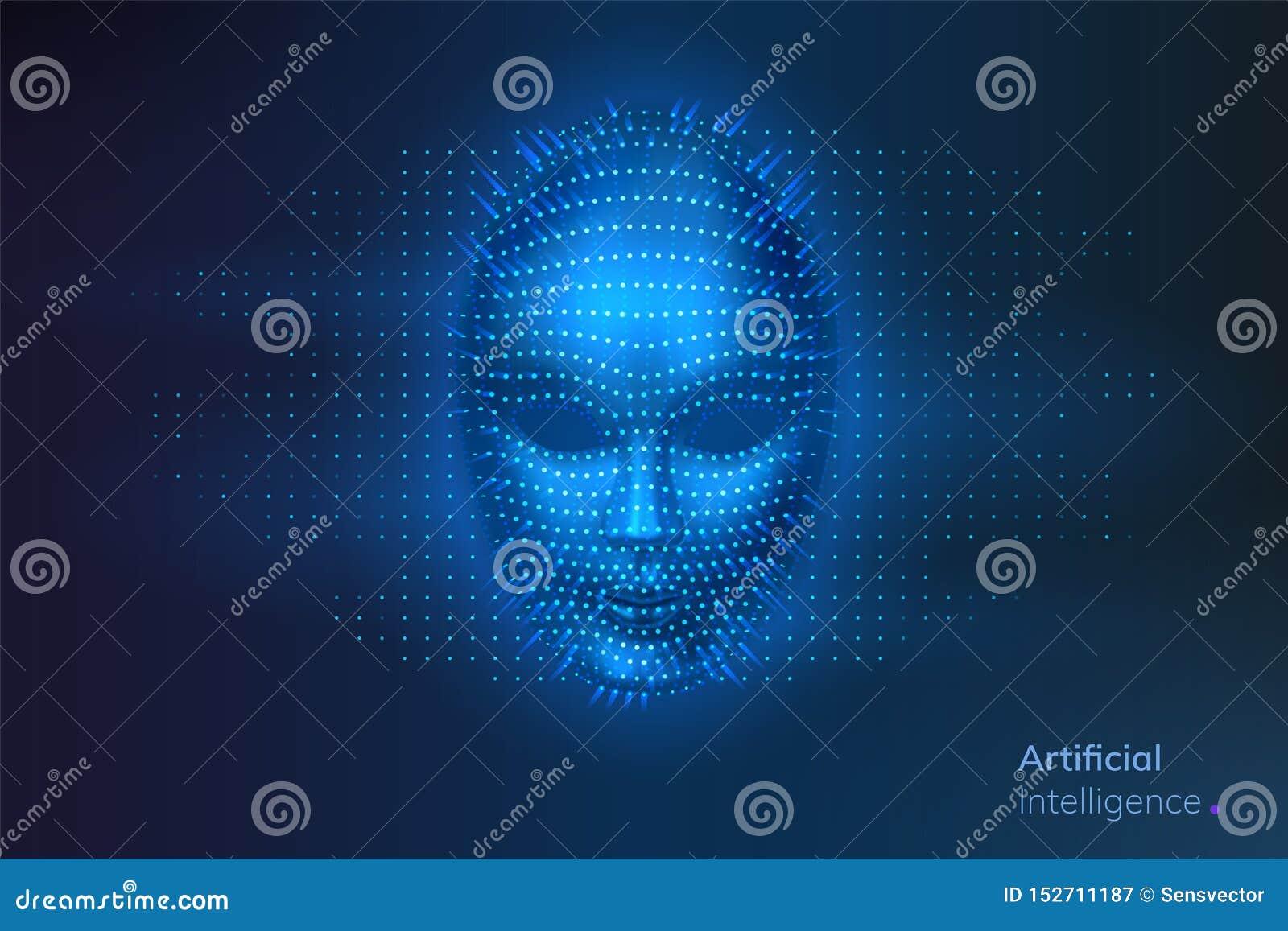 Kunstmatige intelligentie of AI, robot digitaal gezicht