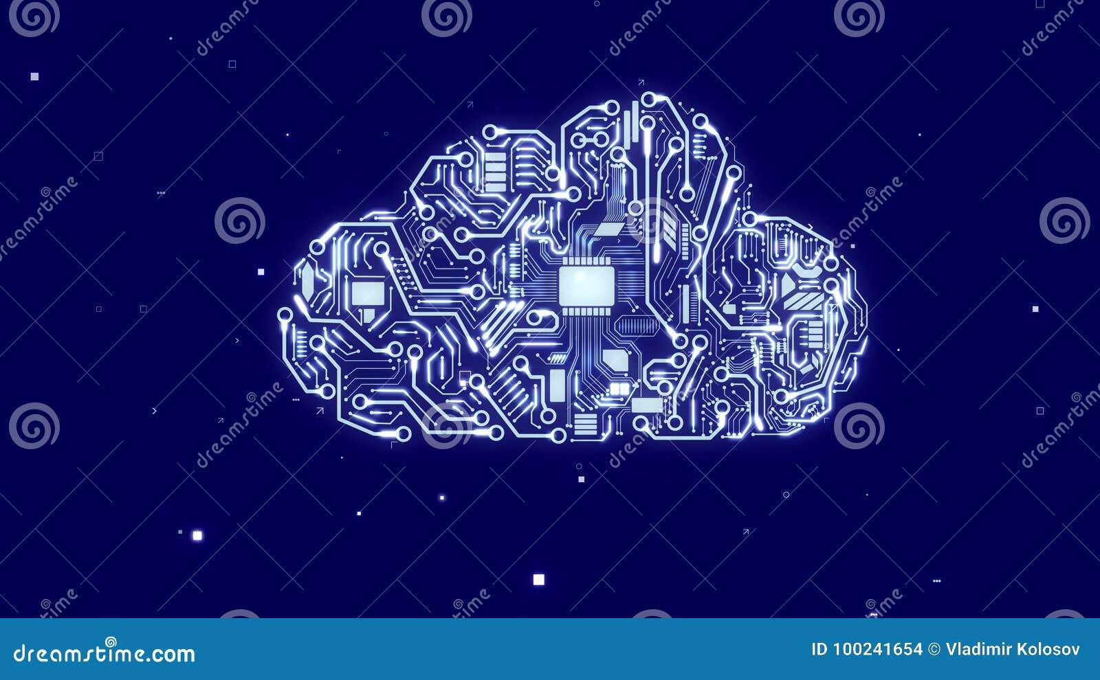 Kunstmatige wolk met cpu-microchips
