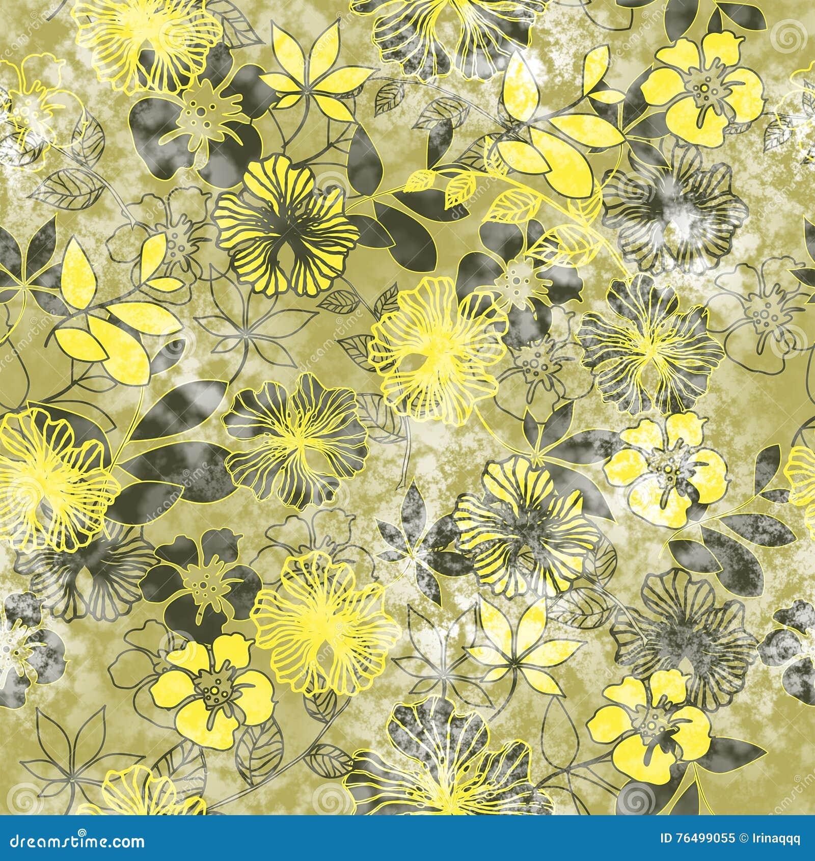 Kunstweinlese stilisierte Blumen farbiges nahtloses Muster, Schmutzba