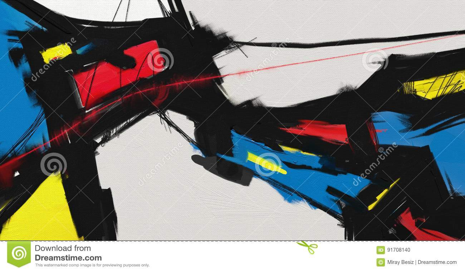 Kunstwerk van de olieverfschilderij het abstracte stijl op canvas
