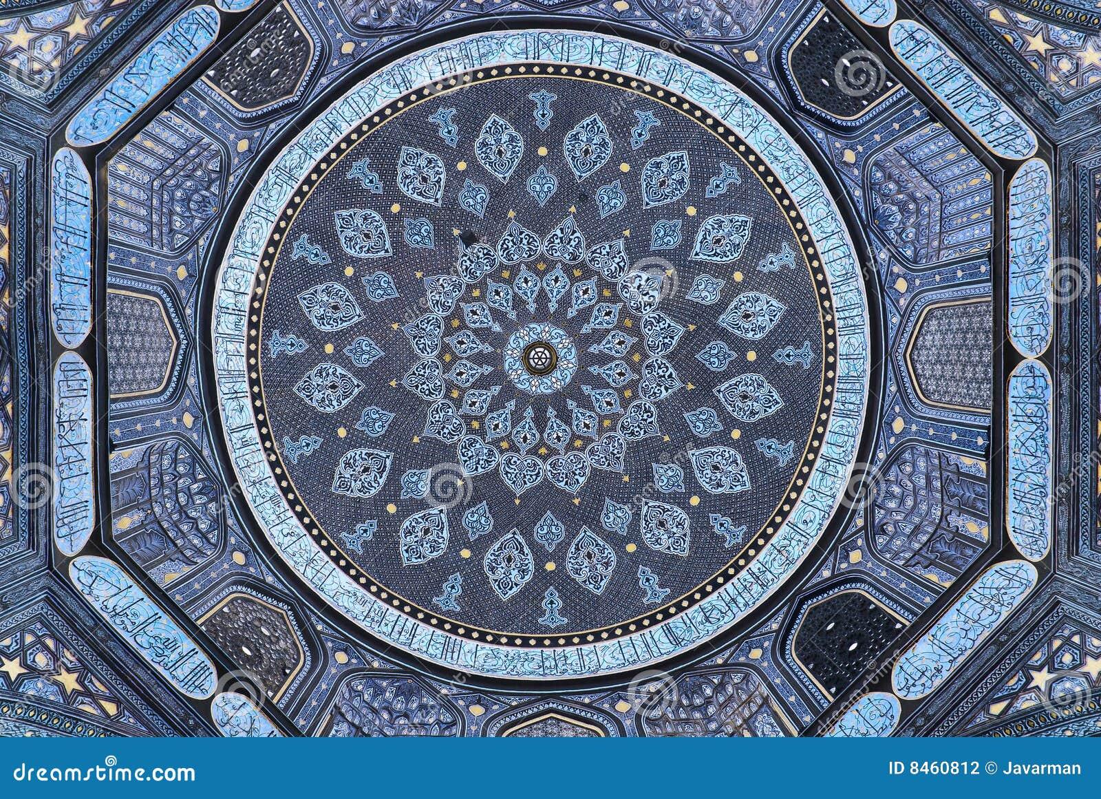 Kupol av moskén, orientaliska prydnadar, Samarkand