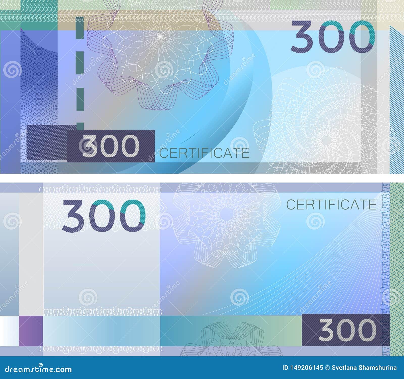Kupongmallsedel 300 med den guillochemodellvattenstämplar och gränsen Blå bakgrundssedel, presentkort, kupong,