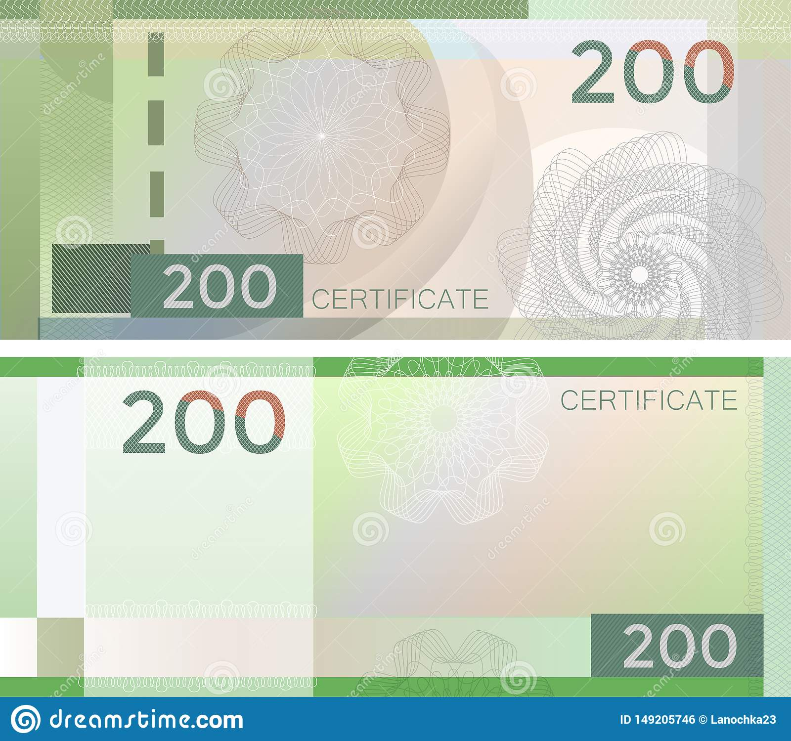 Kupongmallsedel 200 med den guillochemodellvattenstämplar och gränsen Grön bakgrundssedel, presentkort, kupong,