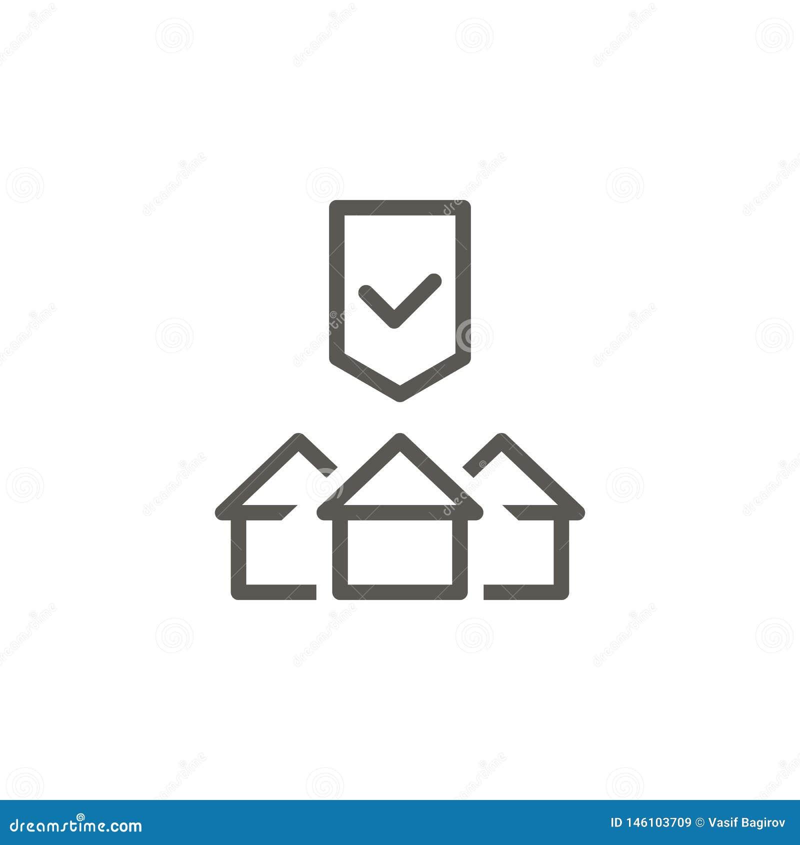 Kupuje, mieści, własność, ochrona wektoru ikona Prosta element ilustracja od UI poj?cia Kupuje, mieści, własność, ochrona wektor
