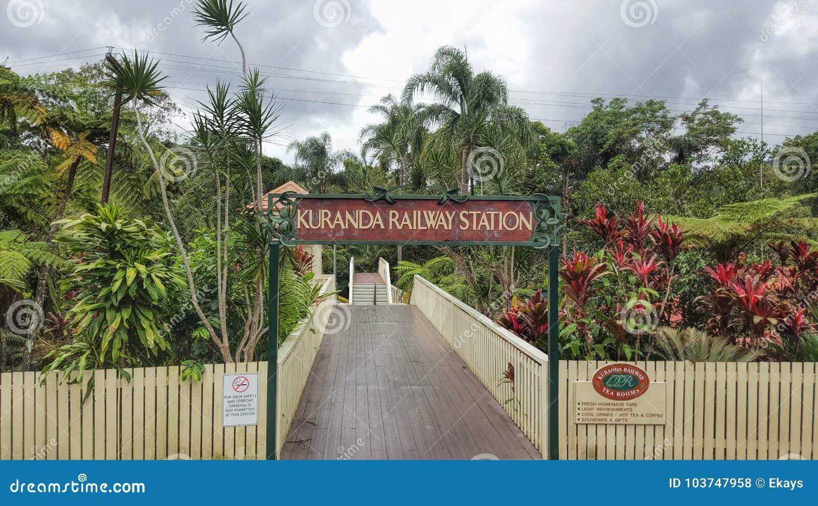 Kuranda järnvägsstation norr Queensland Australien