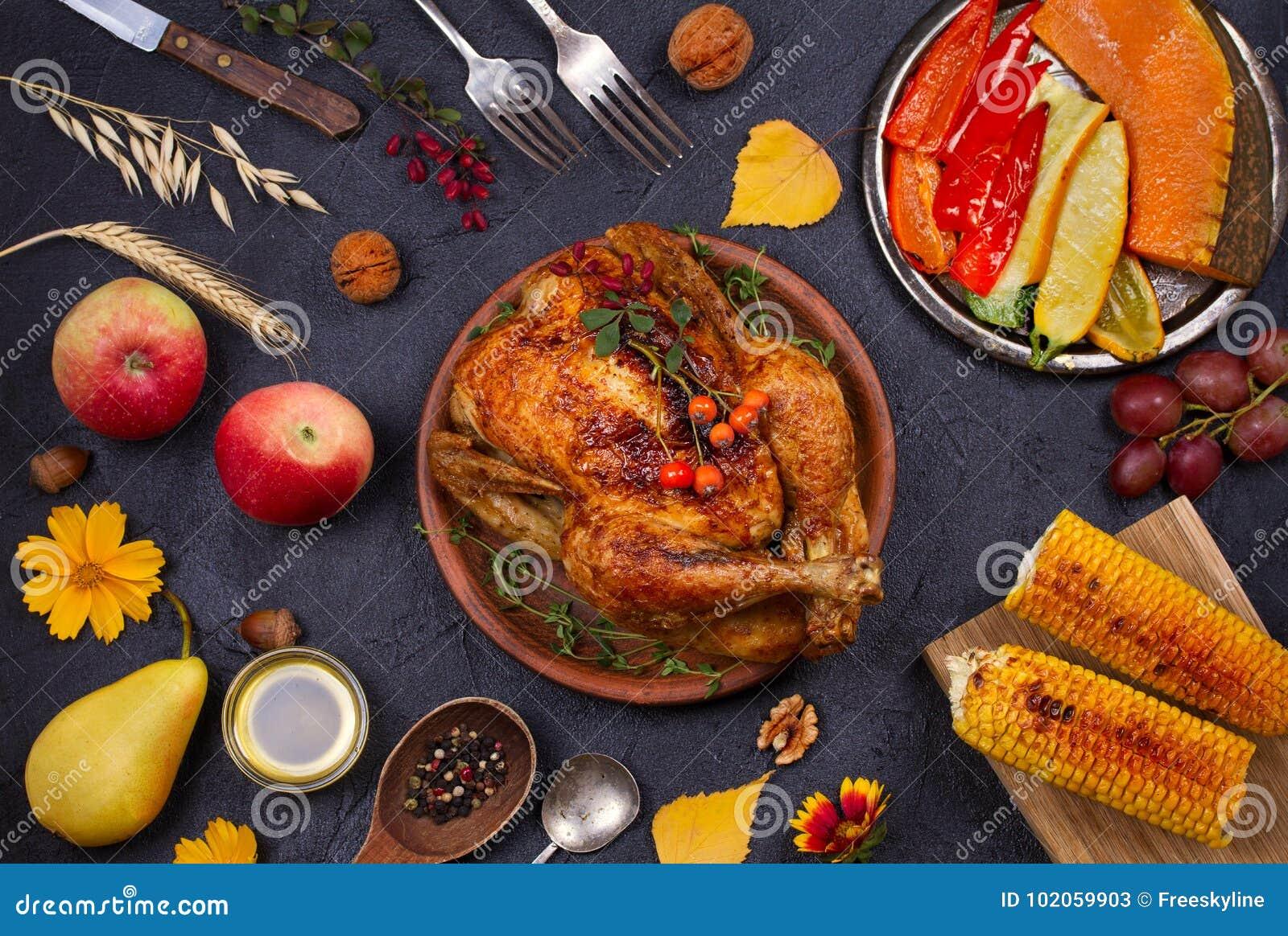 Kurczak Lub Indyk Jesieni Karmowy Lasowanie Dziekczynienia Zniwa I