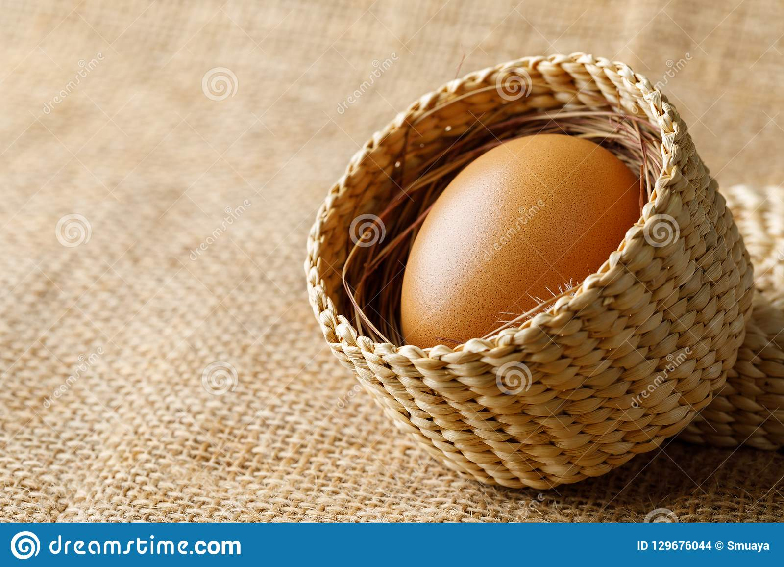 Kurczak lub kurny jajko w łozinowym koszu na parciaku