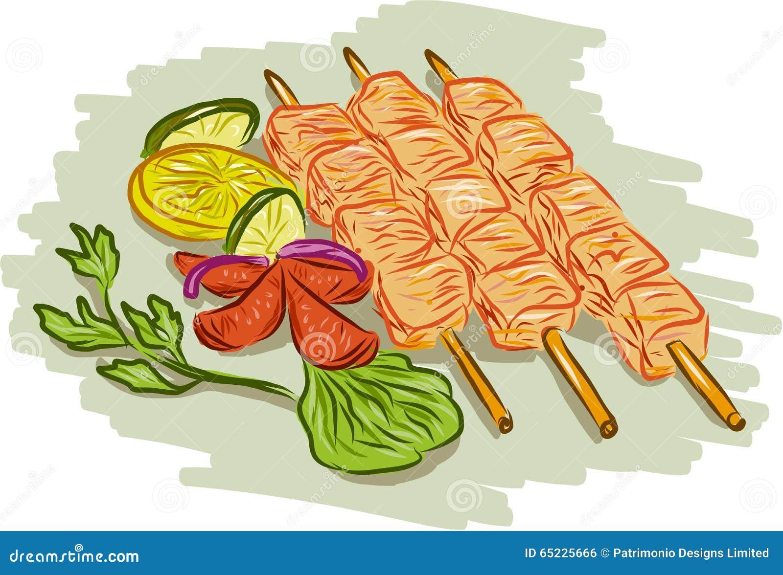 Kurczaka Kebabs warzyw Rysować