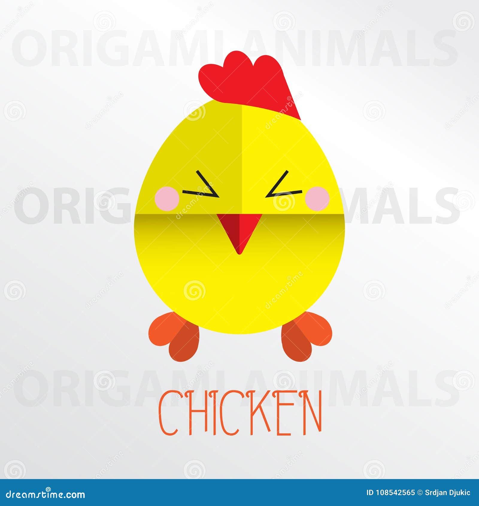 Kurczaka Origami Papieru Sztuki Ilustracja Ilustracja Wektor