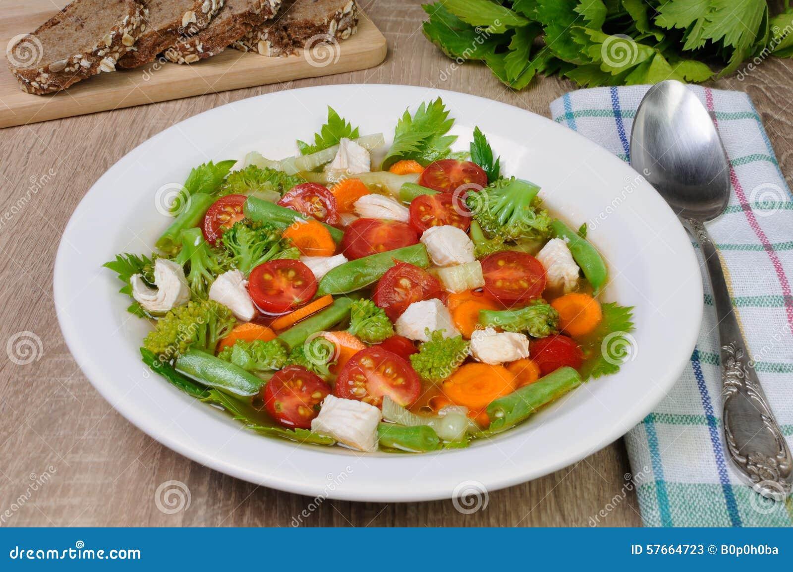 Kurczaka polewki warzywo