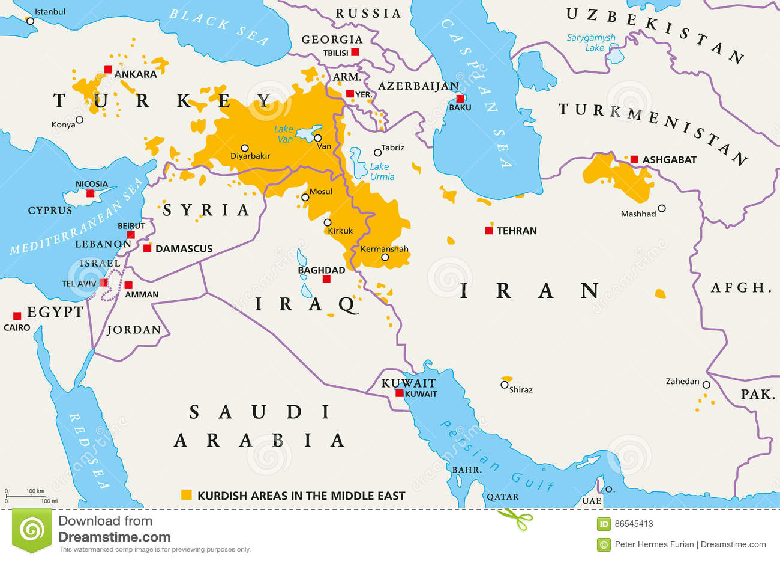 Kurdistan Karte 2019.Kurdische Bereiche Im Mittlere Osten Politische Karte