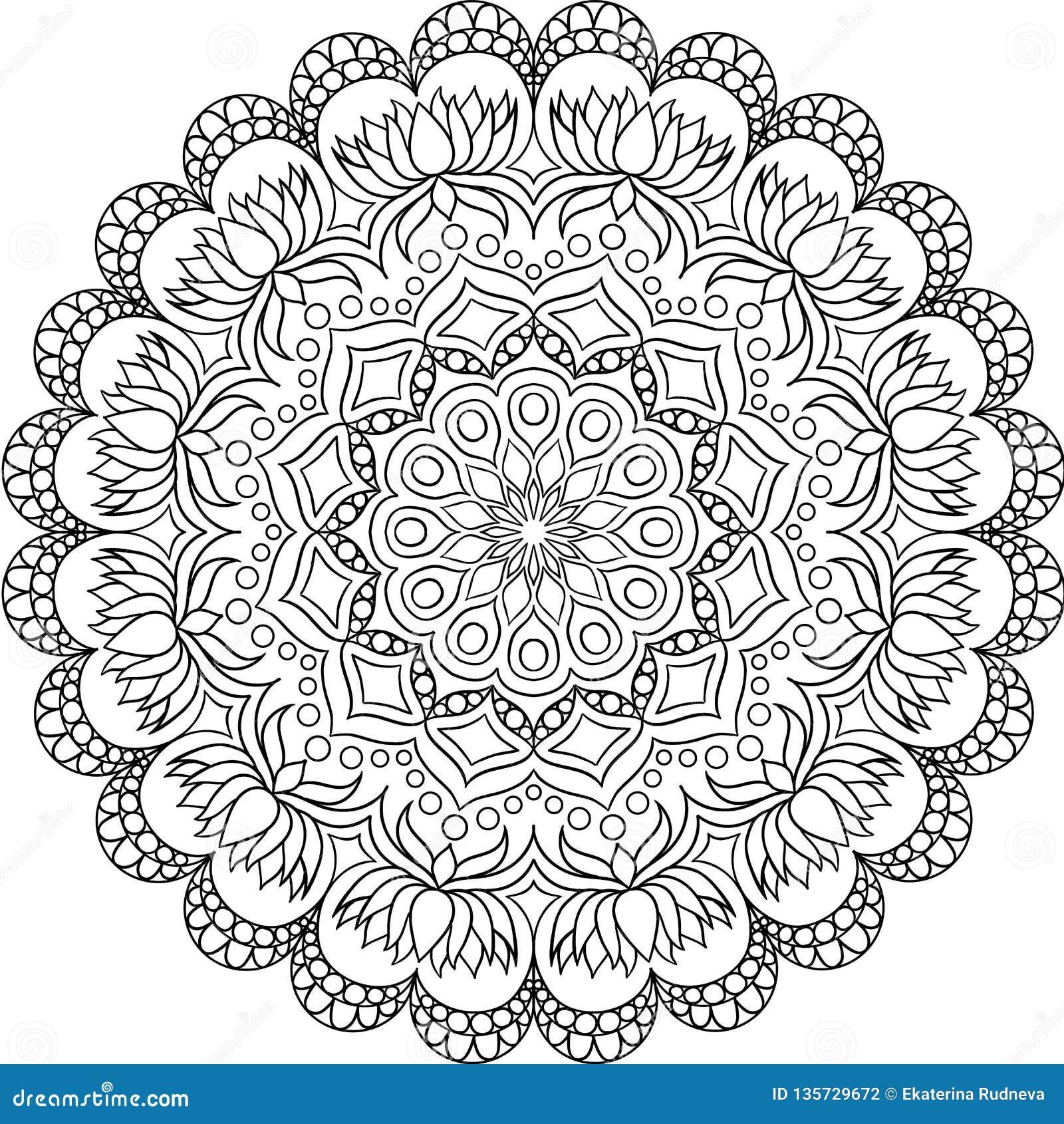 Kurenda wzór w formie mandala dla henny, Mehndi, tatuaż, dekoracja
