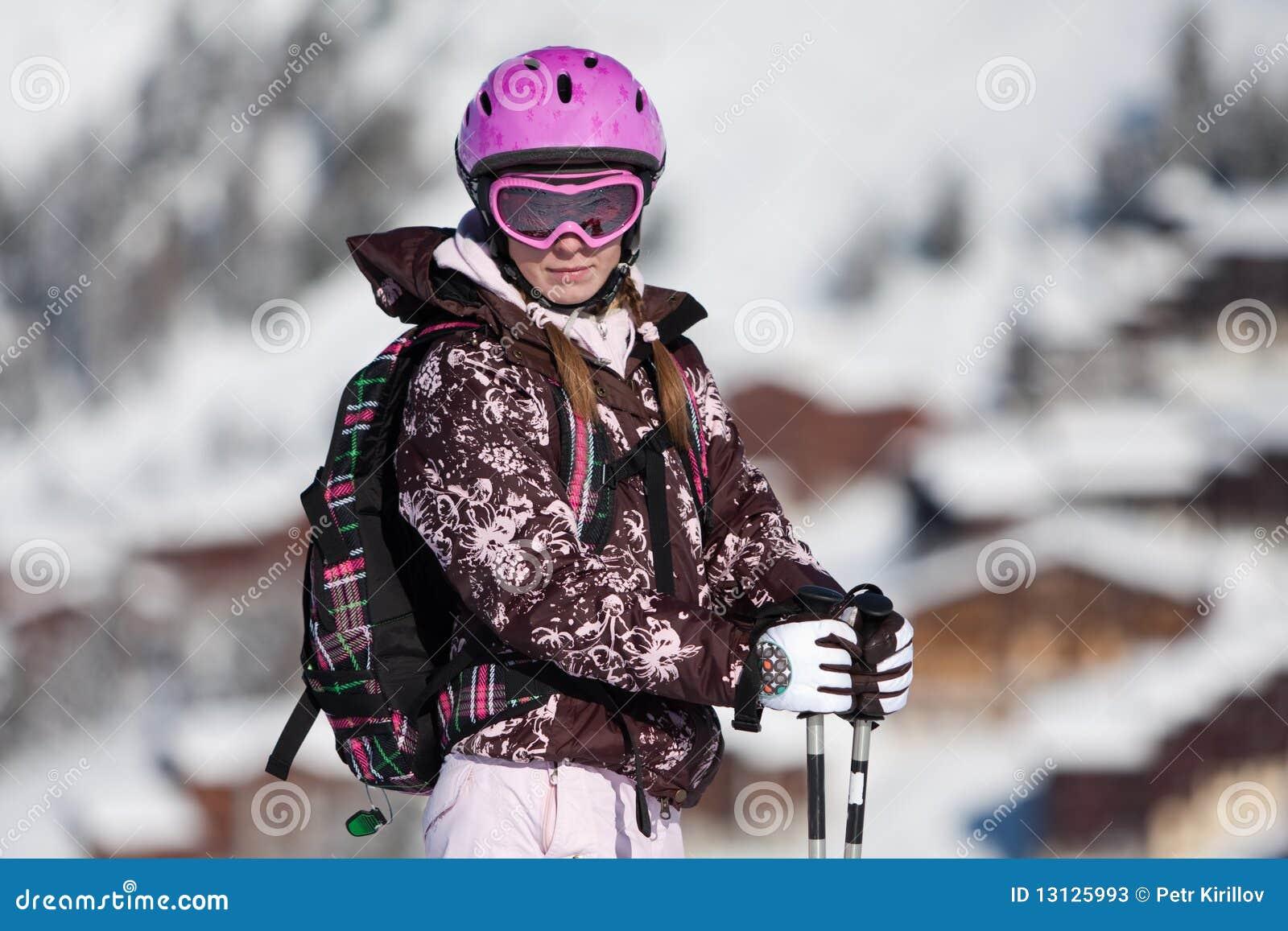 Kurortu narciarscy kobiety potomstwa