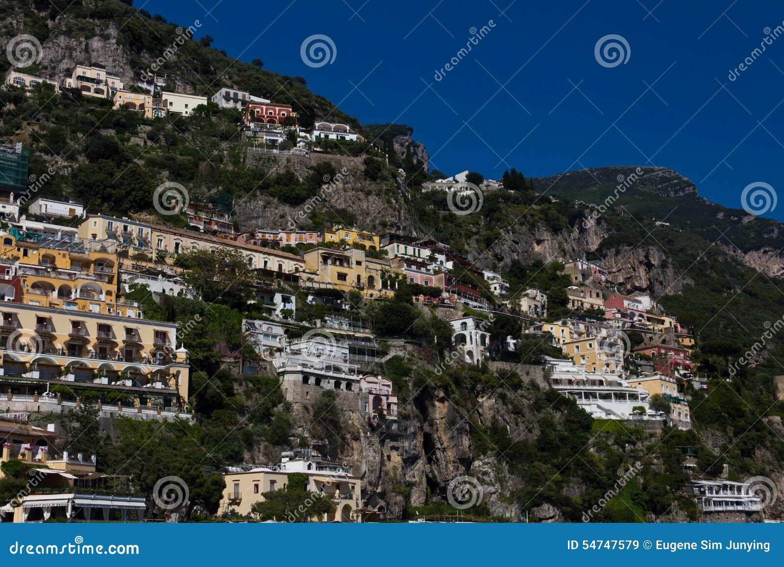 Kurorty i domy Positano, miasteczko na Amalfi wybrzeżu