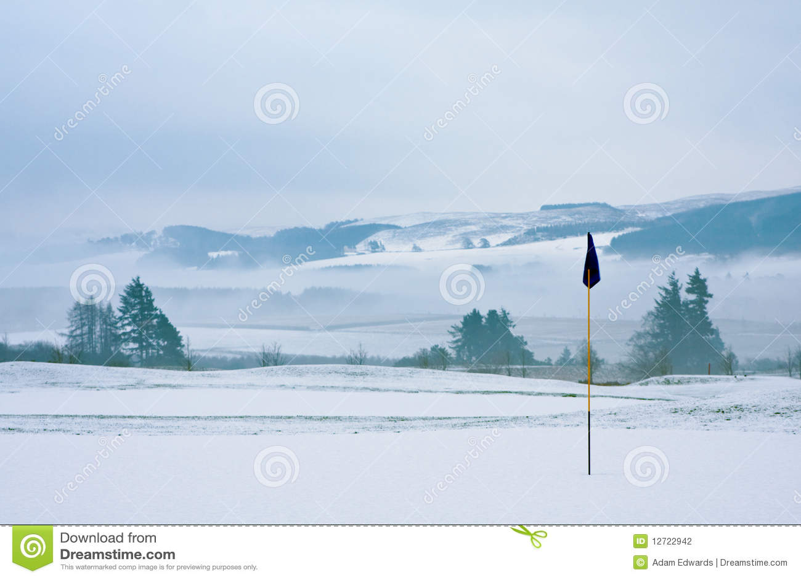 Kursowego golfowego ranek śnieżna zima