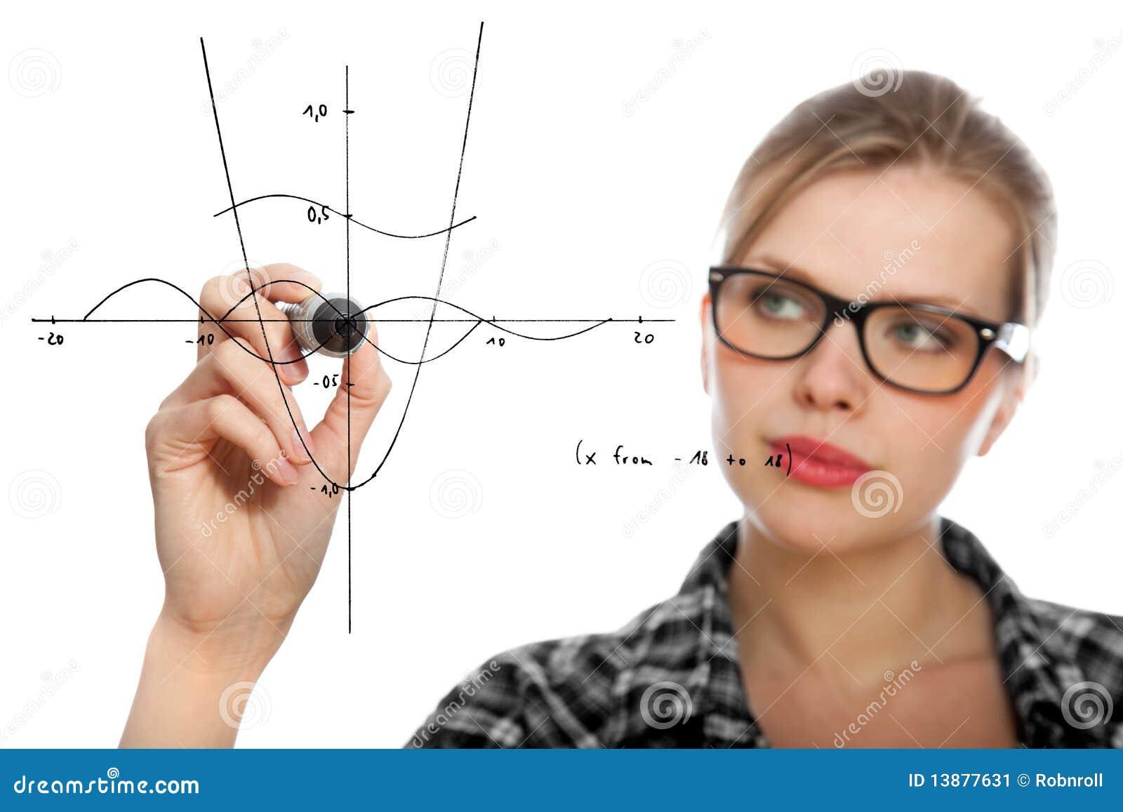 Kursteilnehmermädchen, das ein mathematisches Diagramm zeichnet