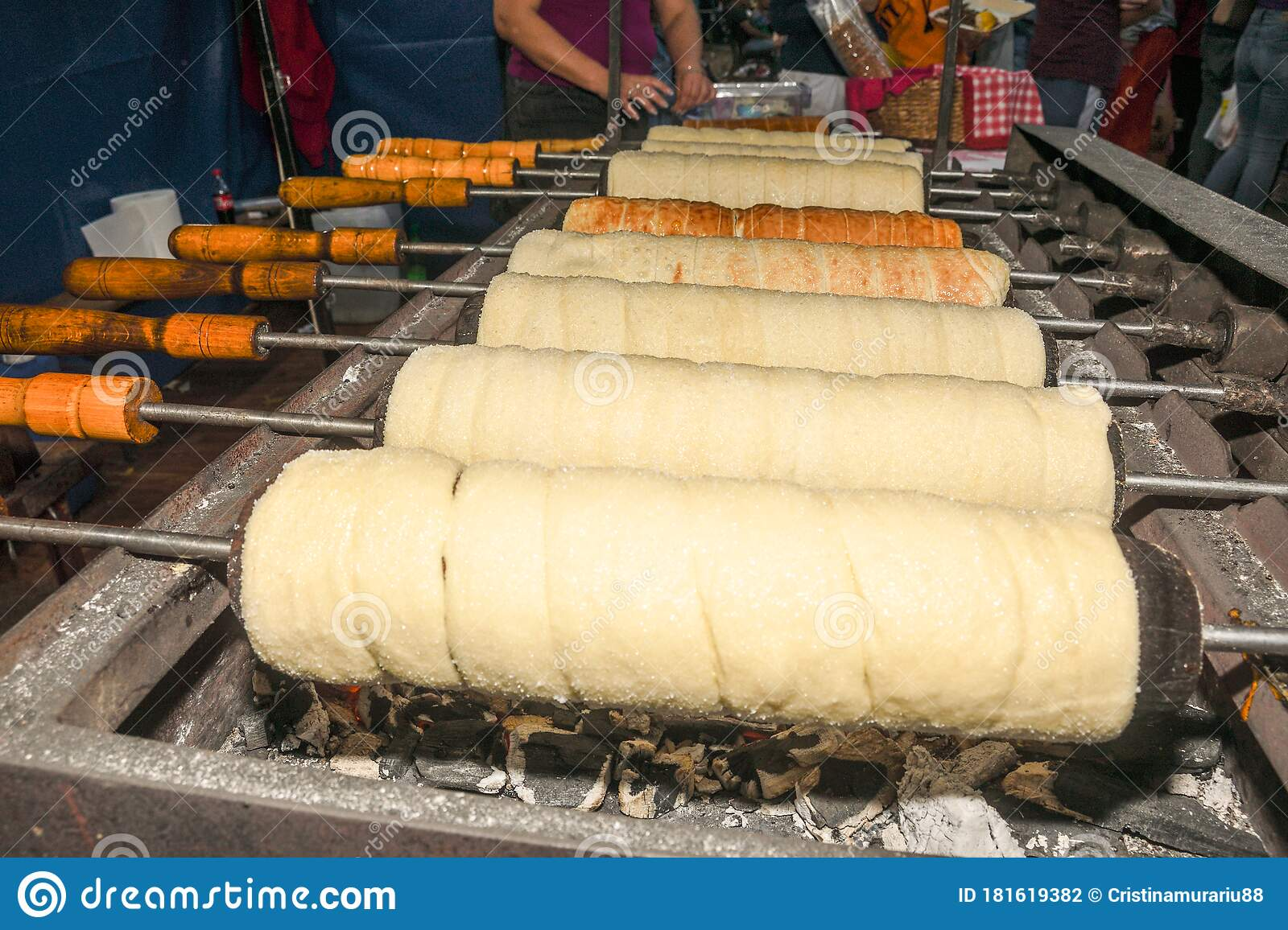 Kurtos Kalacs Or Chimney Cakes Preparing Cooking On Charcoal Grill Stock Photo Image Of Baked Dessert 181619382